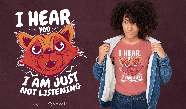 Diseño de camiseta divertida animal gato de dibujos animados