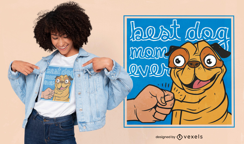Diseño de camiseta de cita de pug de dibujos animados feliz