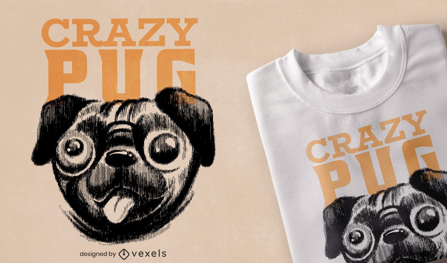 Diseño de camiseta de pug loco