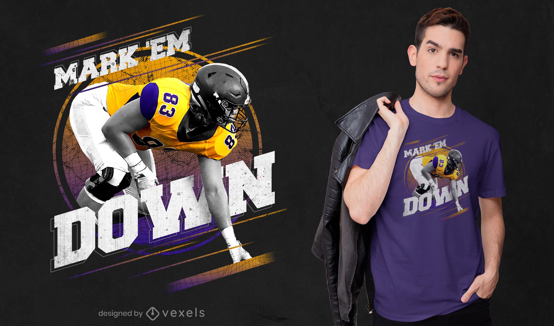 Mark 'em down football psd diseño de camiseta