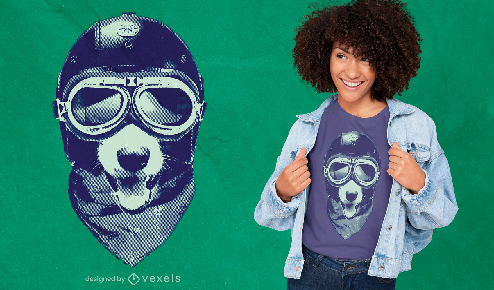 Diseño de camiseta de casco de motocicleta de perro animal.