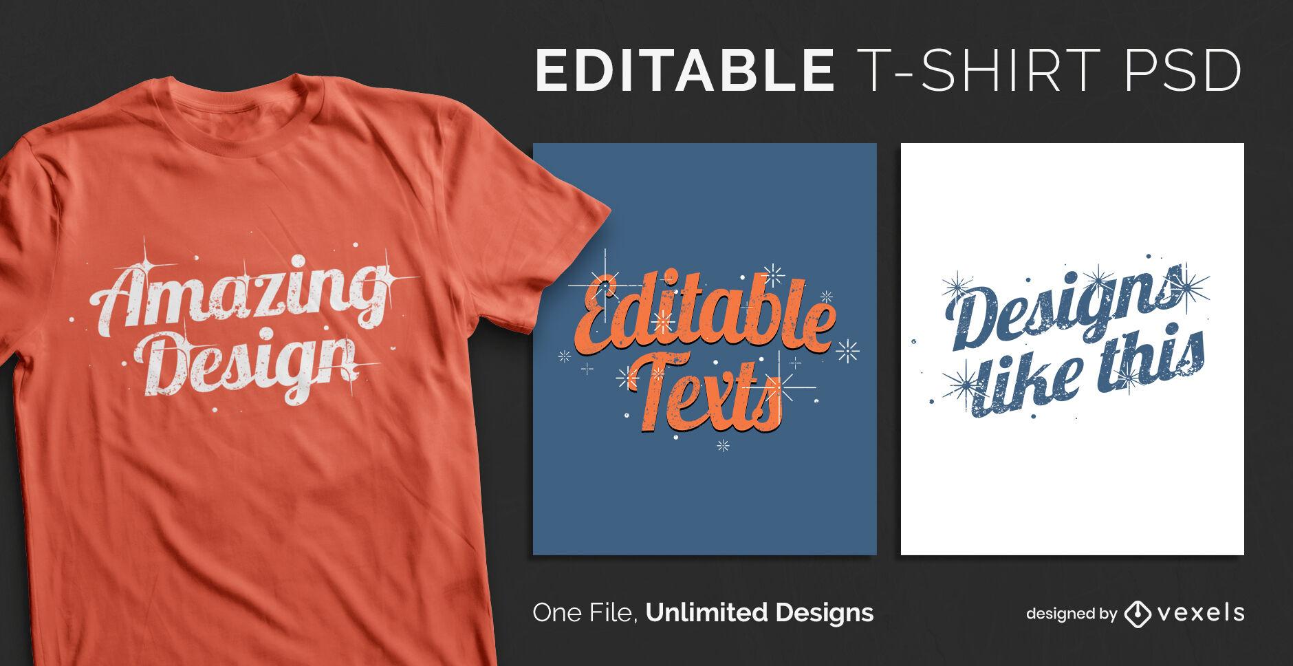 Skalierbare T-Shirt-Vorlage mit Sternen und Funkeln-Texteffekt