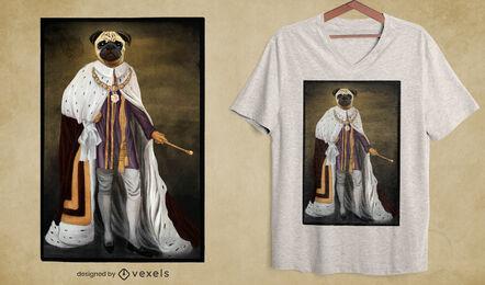 Diseño de camiseta psd de perro pug de realeza