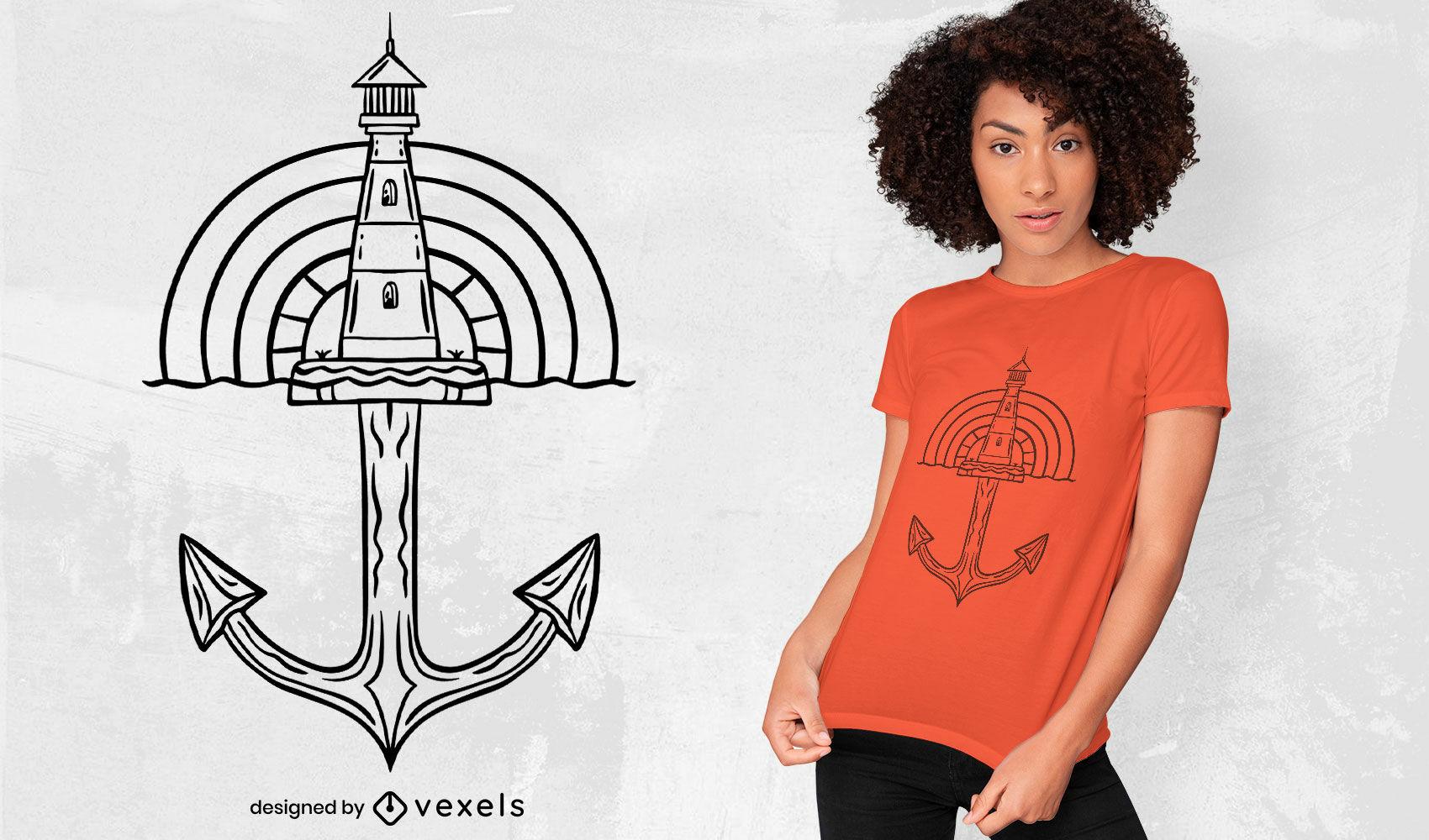 Lighthouse ship anchor t-shirt design