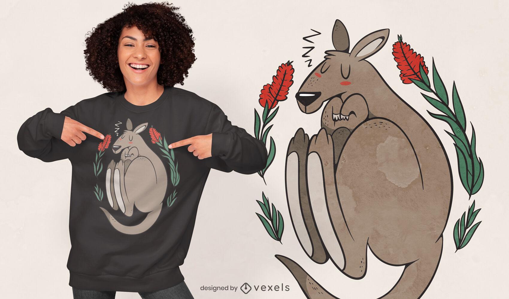 Sleeping kangaroo t-shirt design
