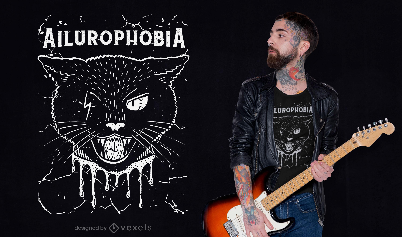 Angst vor Katzen-T-Shirt-Design
