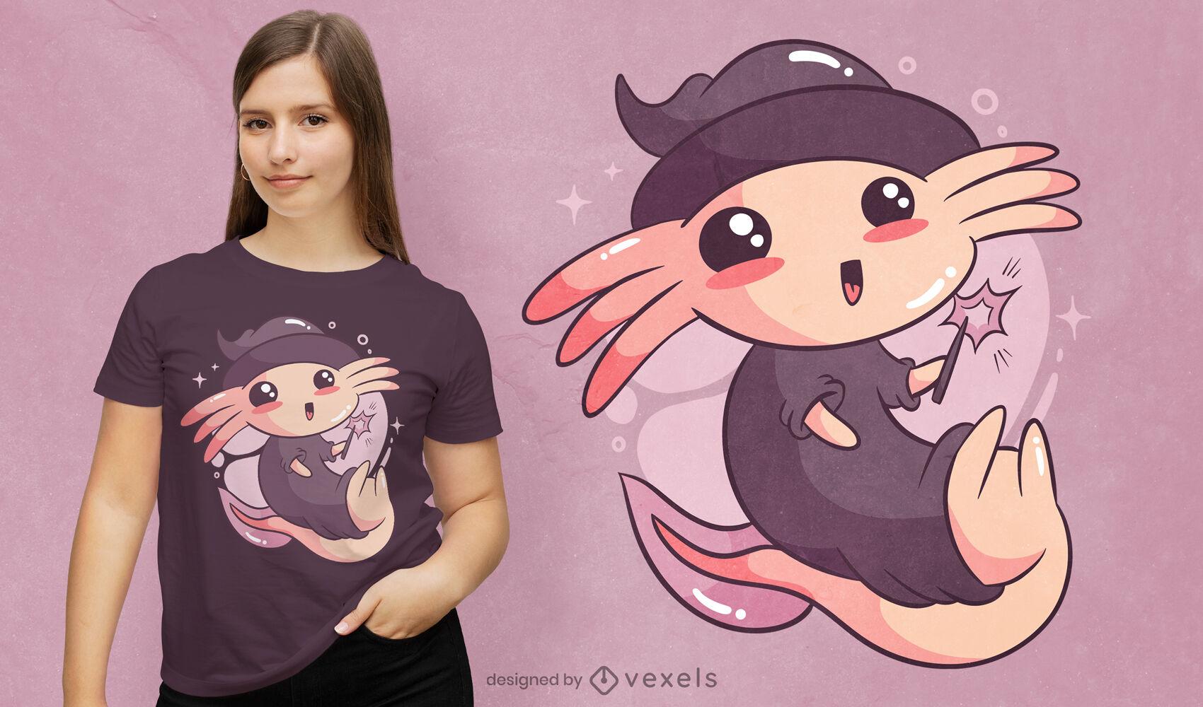 Design fofo de t-shirt axolotl de halloween