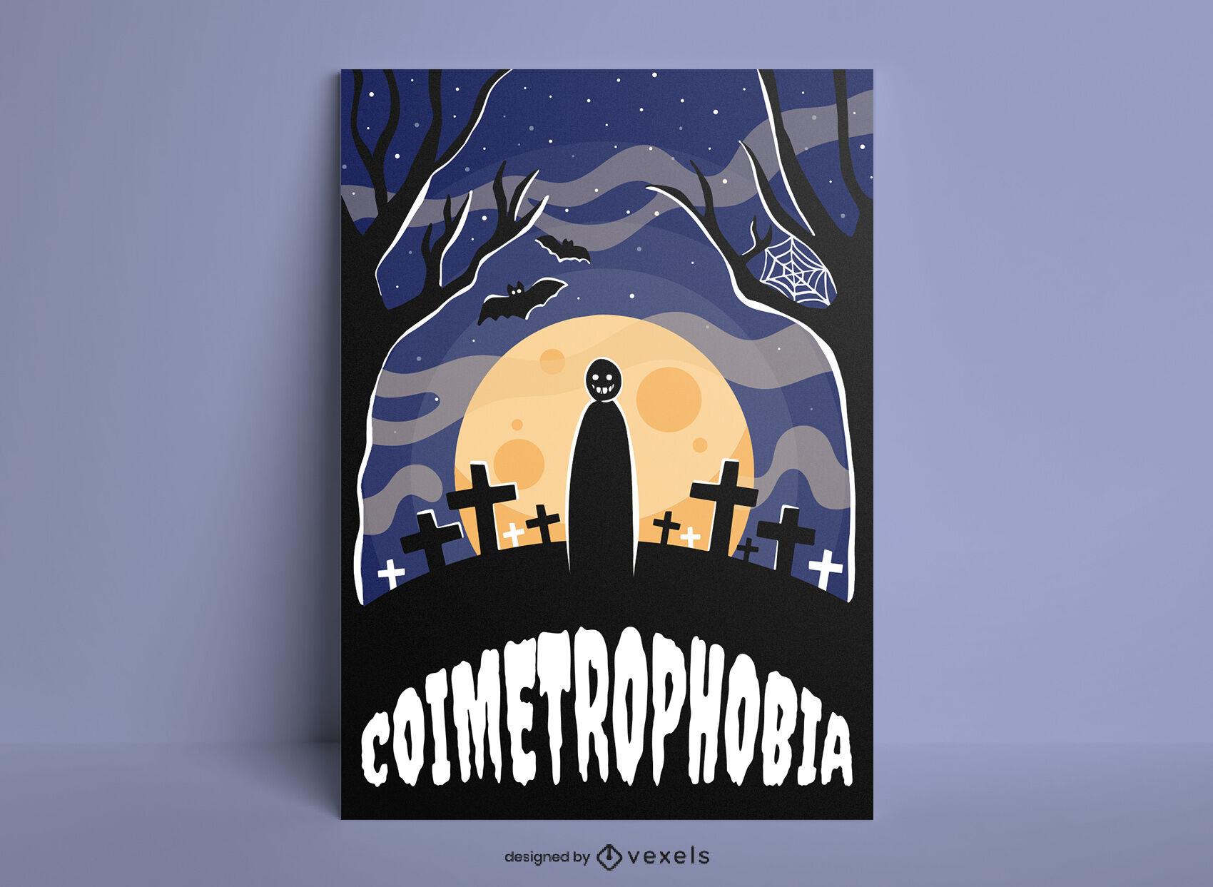 Cemetery fear halloween poster template