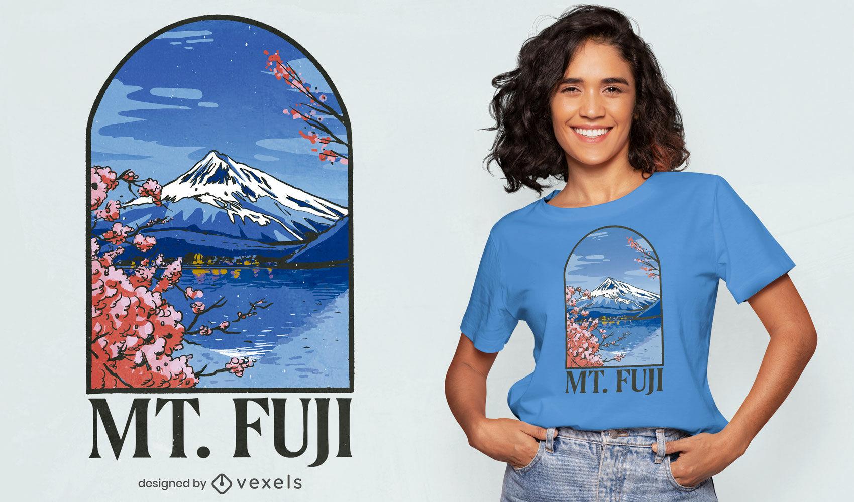 Lindo design de camisetas do Monte Fuji