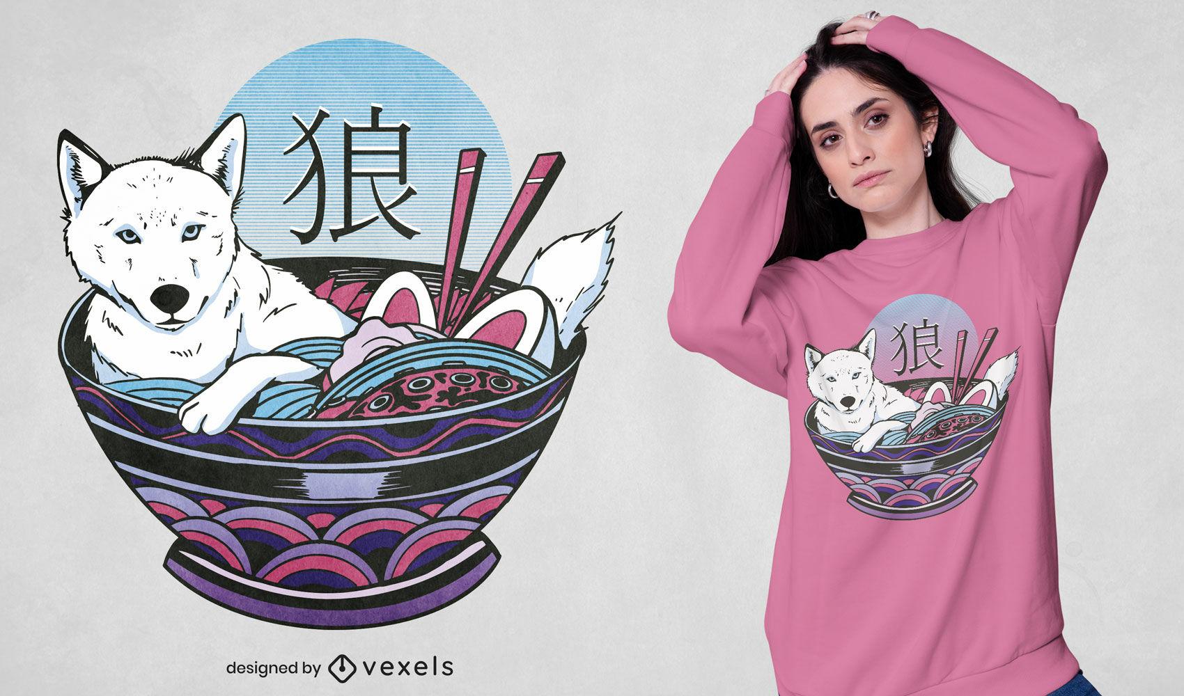 Diseño de camiseta de lobo en un tazón de ramen