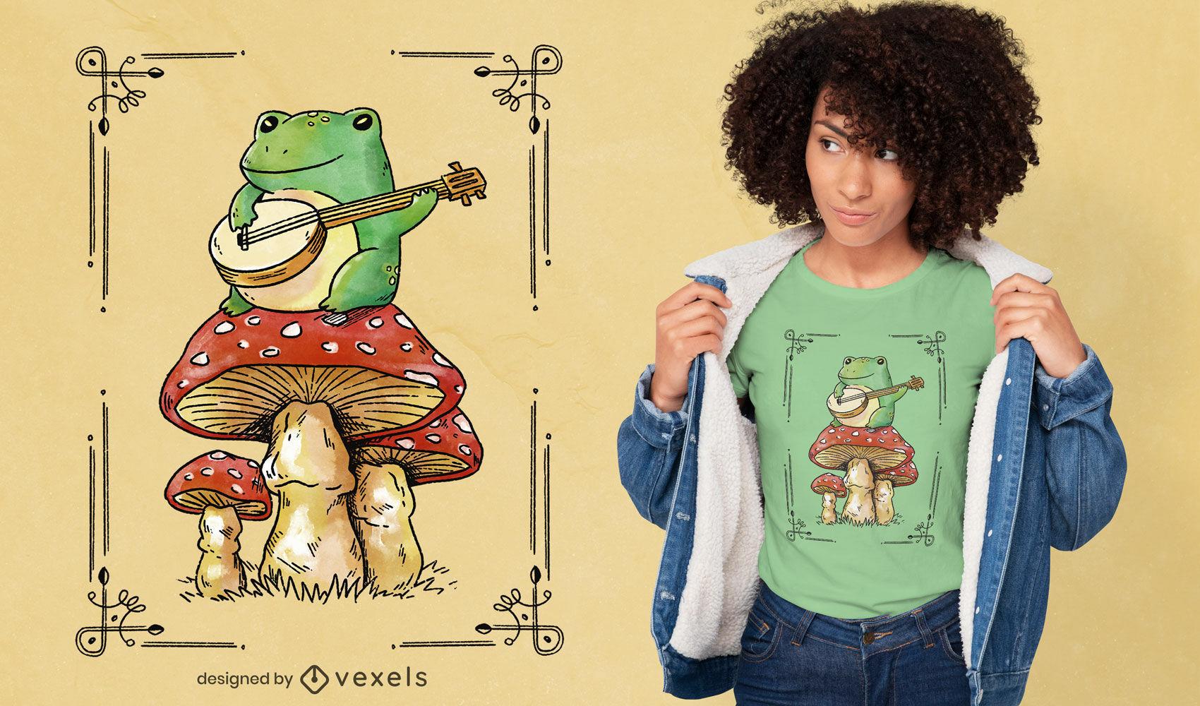 Sapo tocando banjo no design de uma camiseta em cogumelo psd