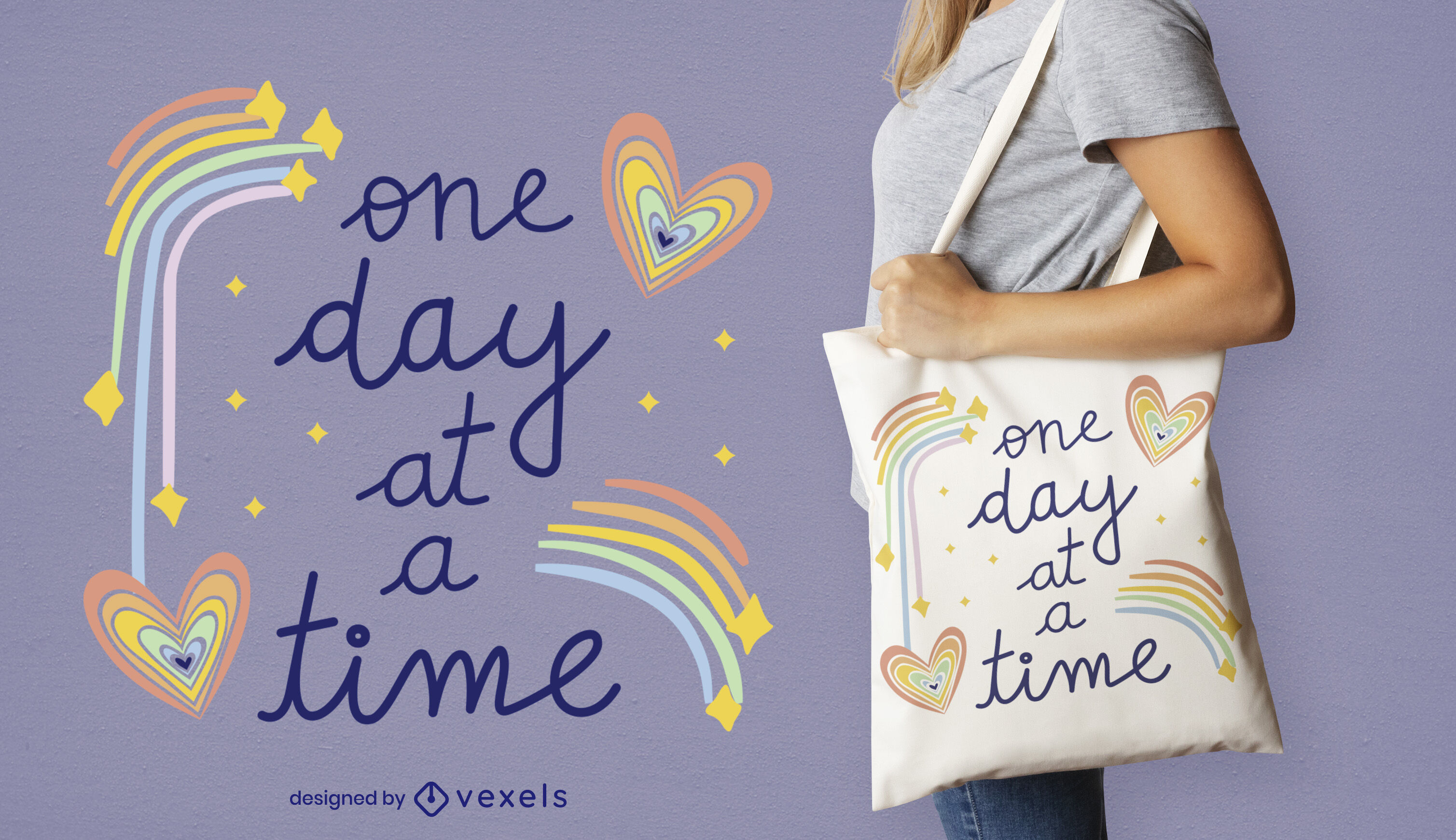 Rainbow hearts happy quote tote bag design