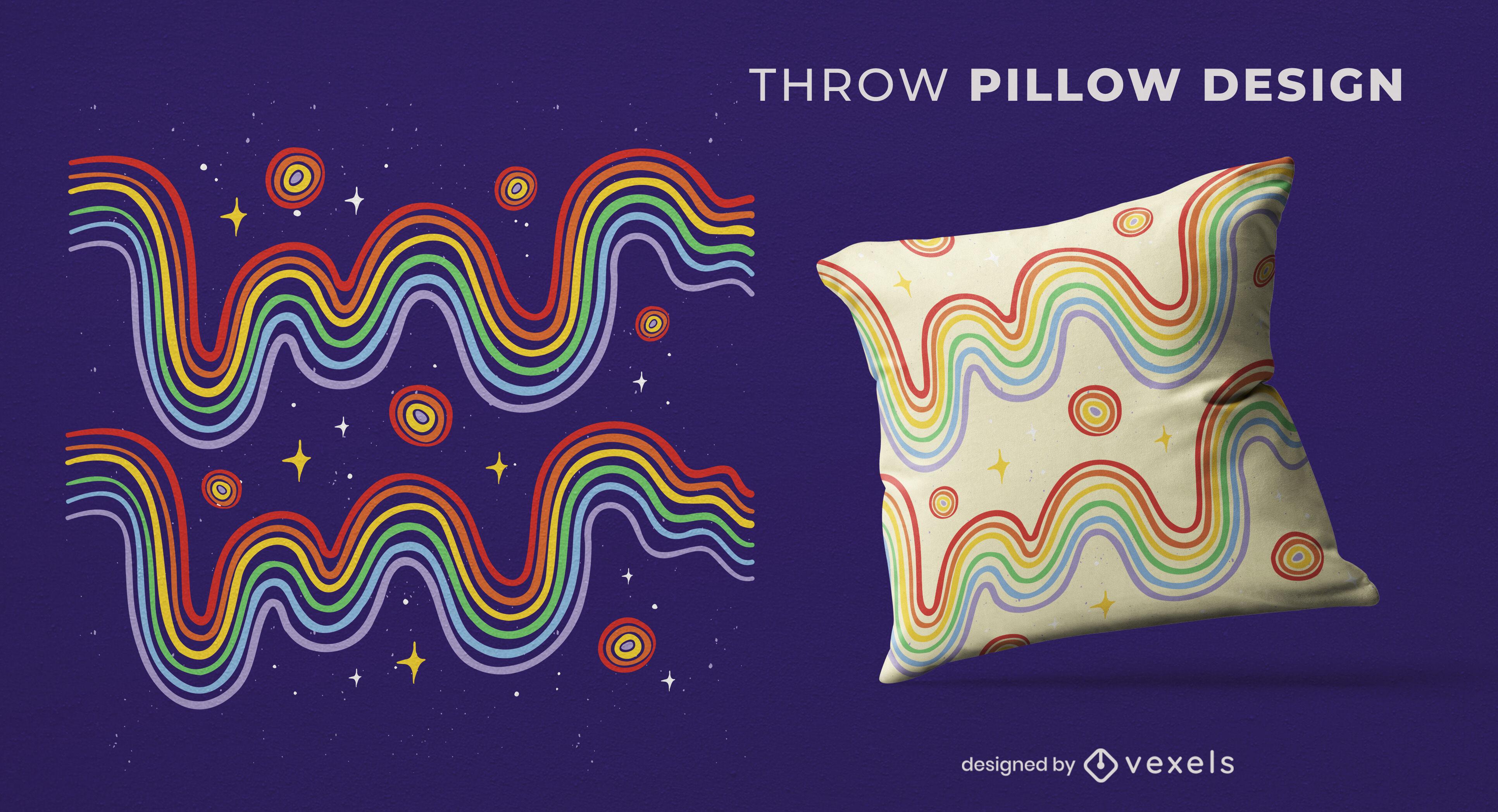 Rainbow wavy lines throw pillow design