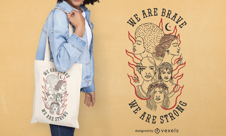 Diseño de bolso de mano de mujer valiente y fuerte.