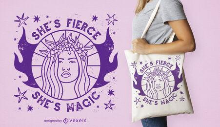 Magical flower woman tote bag design