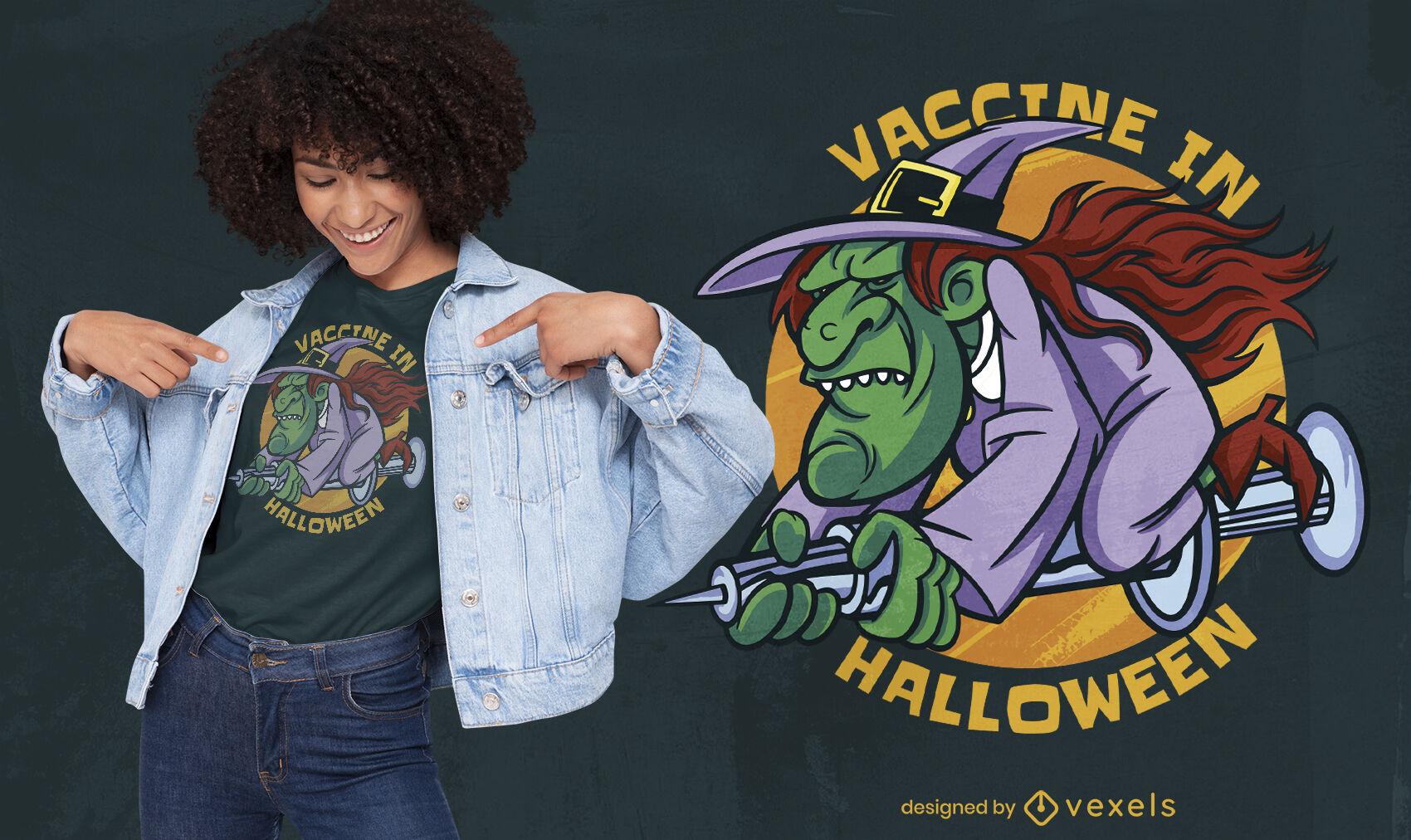 Vacina genial com design de camiseta para o dia das bruxas