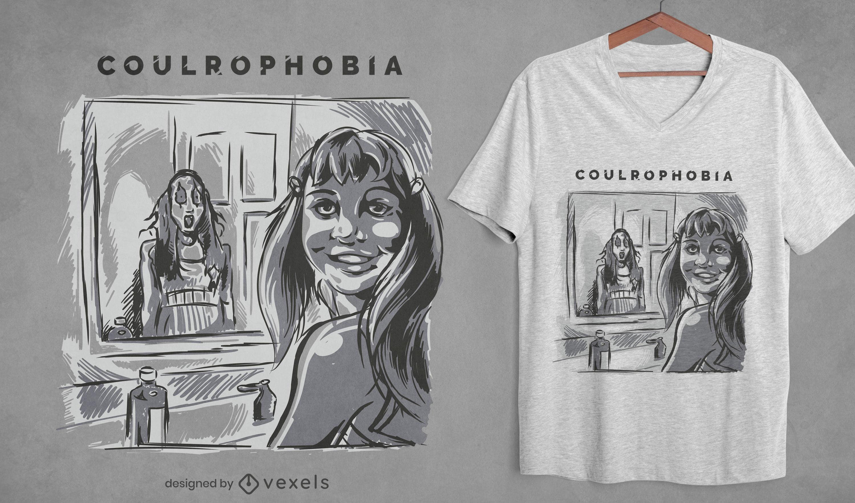 Diseño de camiseta de fobia a los espejos.