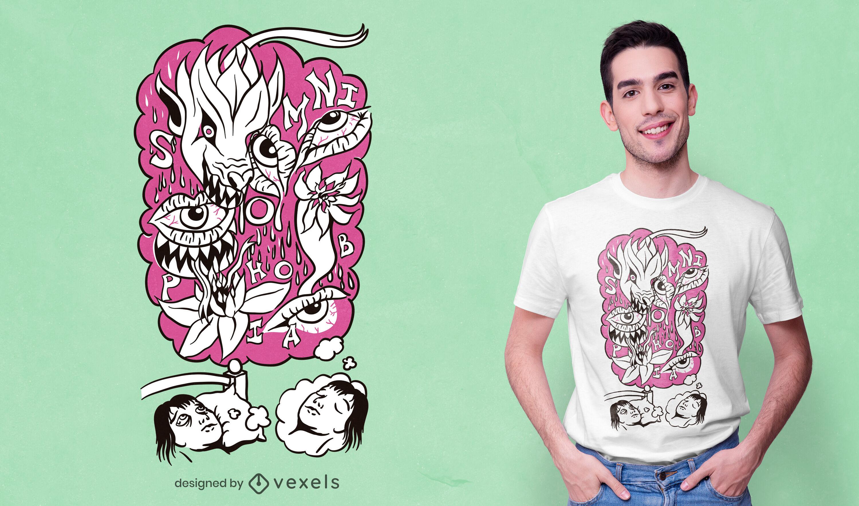 Phobia of sleeping t-shirt design