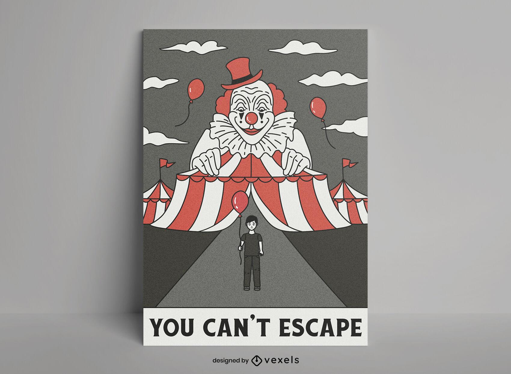 Plantilla de cartel de miedo de circo de payaso asesino