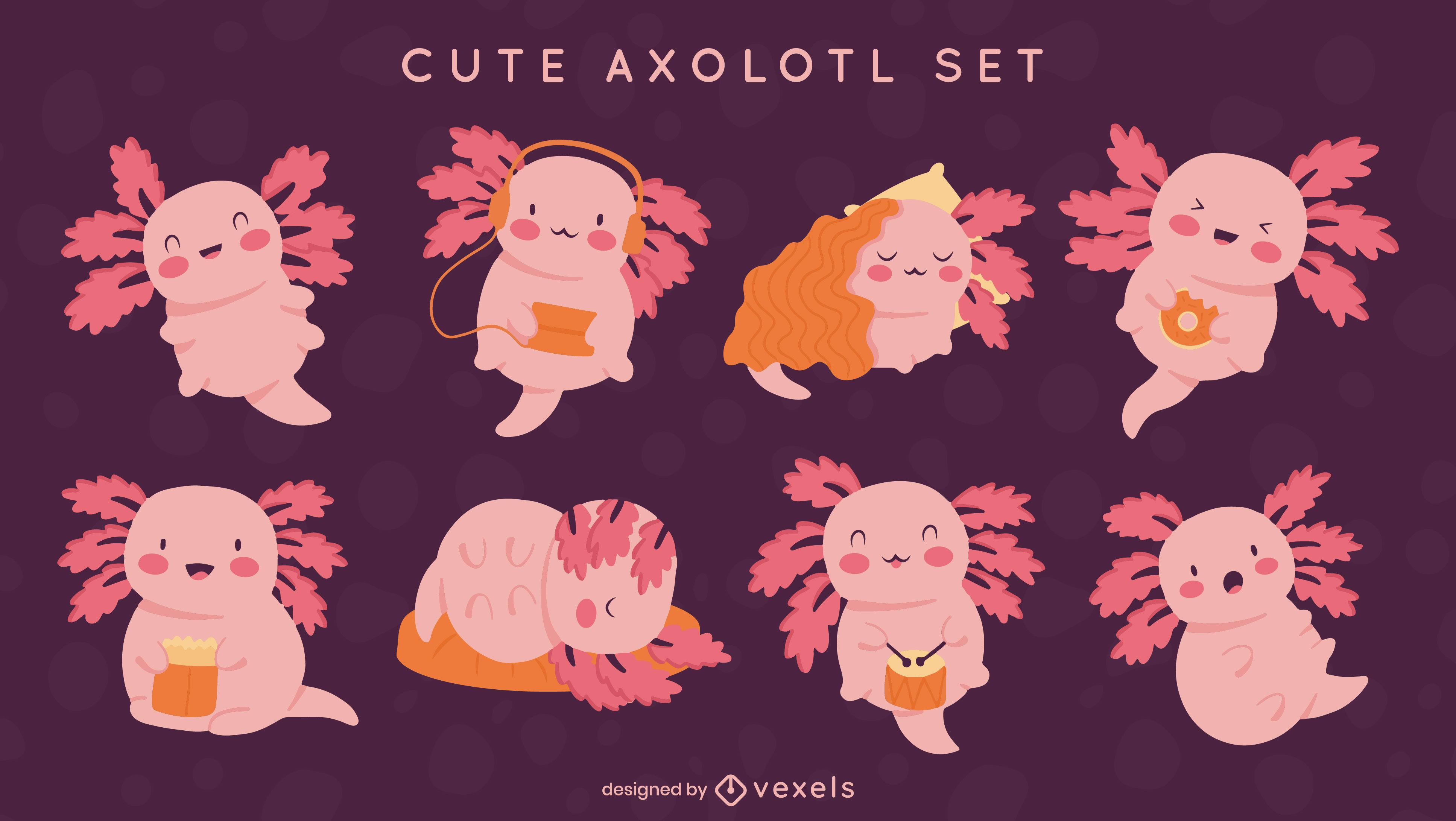 Adorable axolotl animal character set