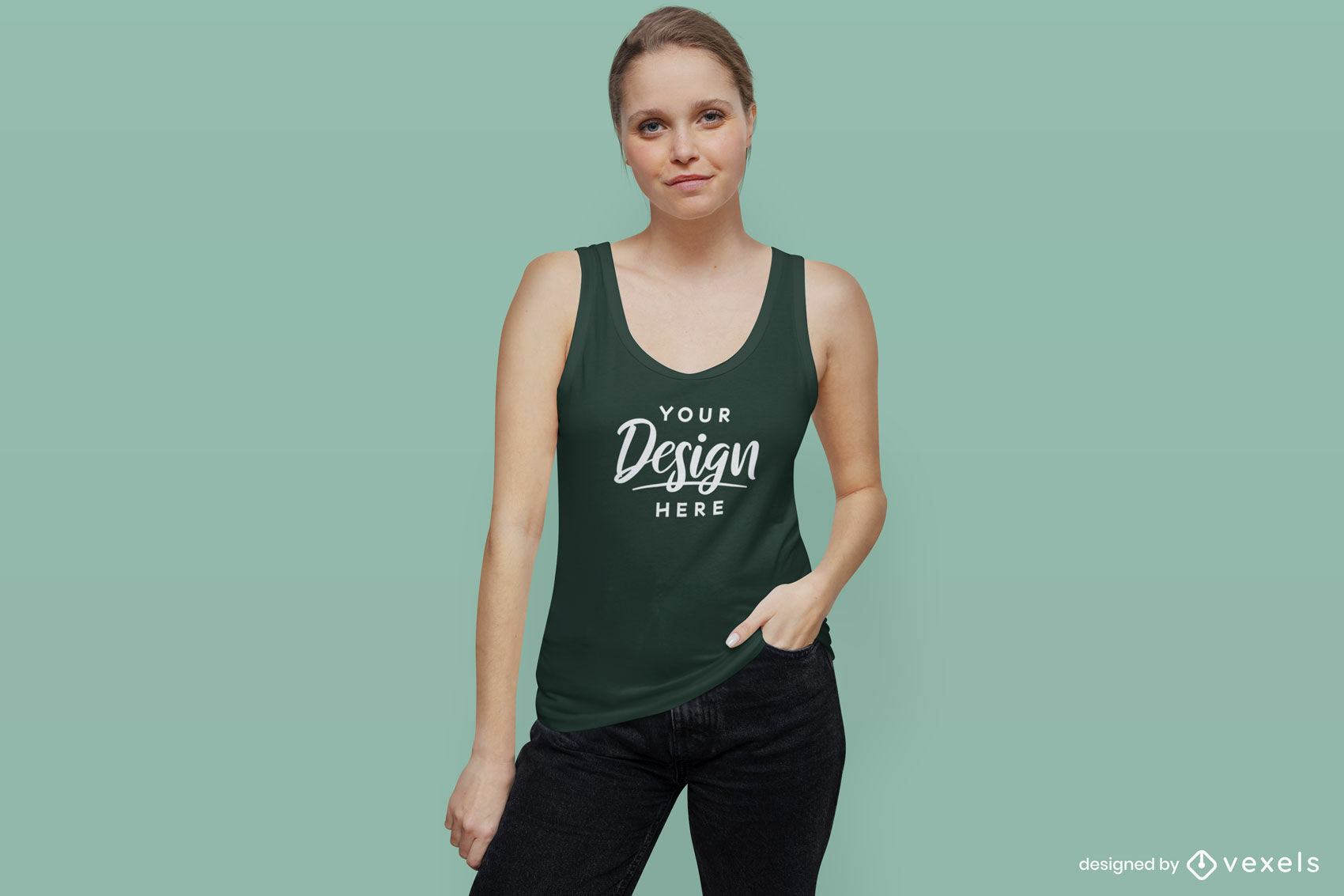 Maqueta de fondo de niña de camiseta sin mangas verde