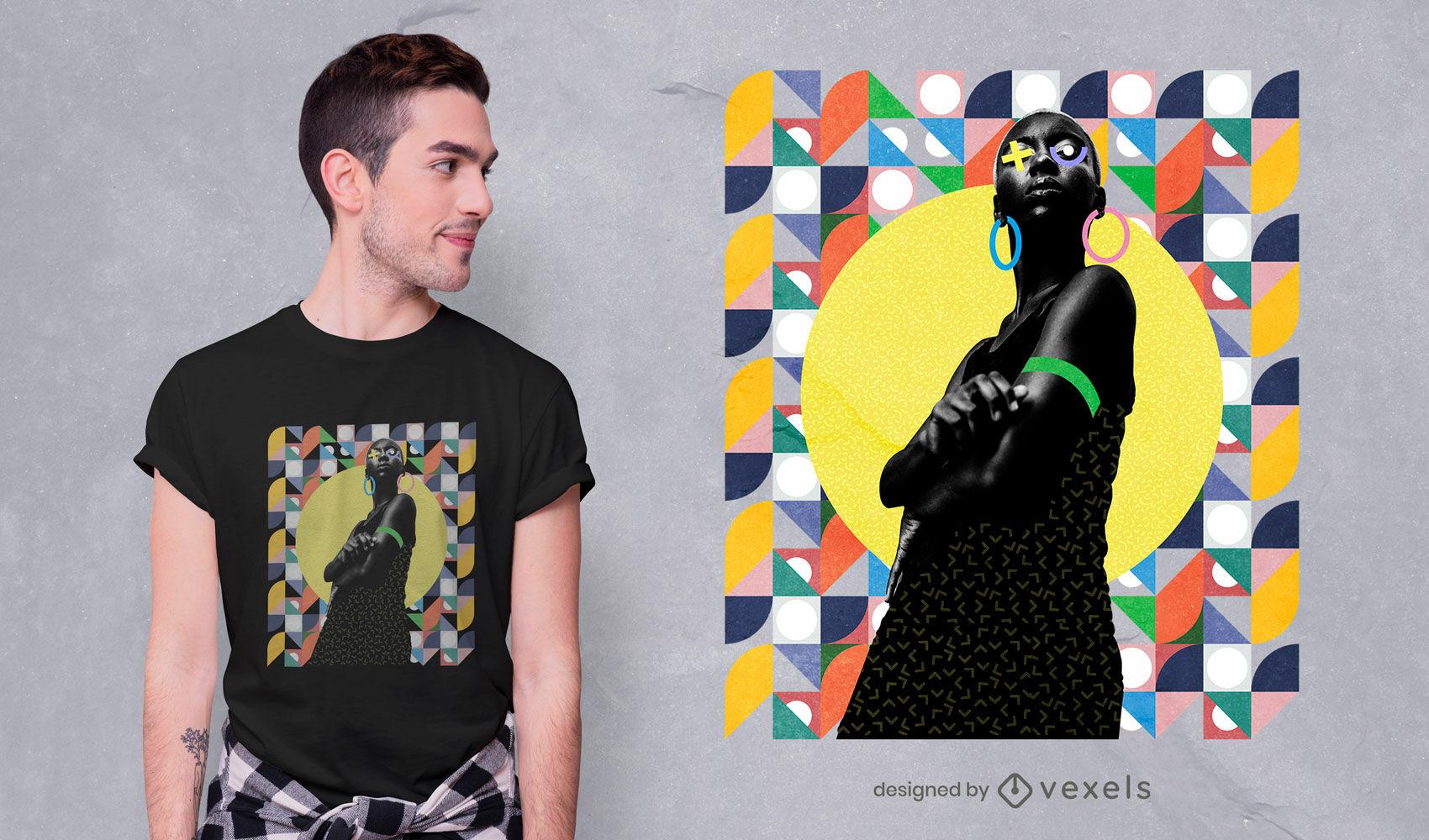 Lady in geometric pattern psd t-shirt design