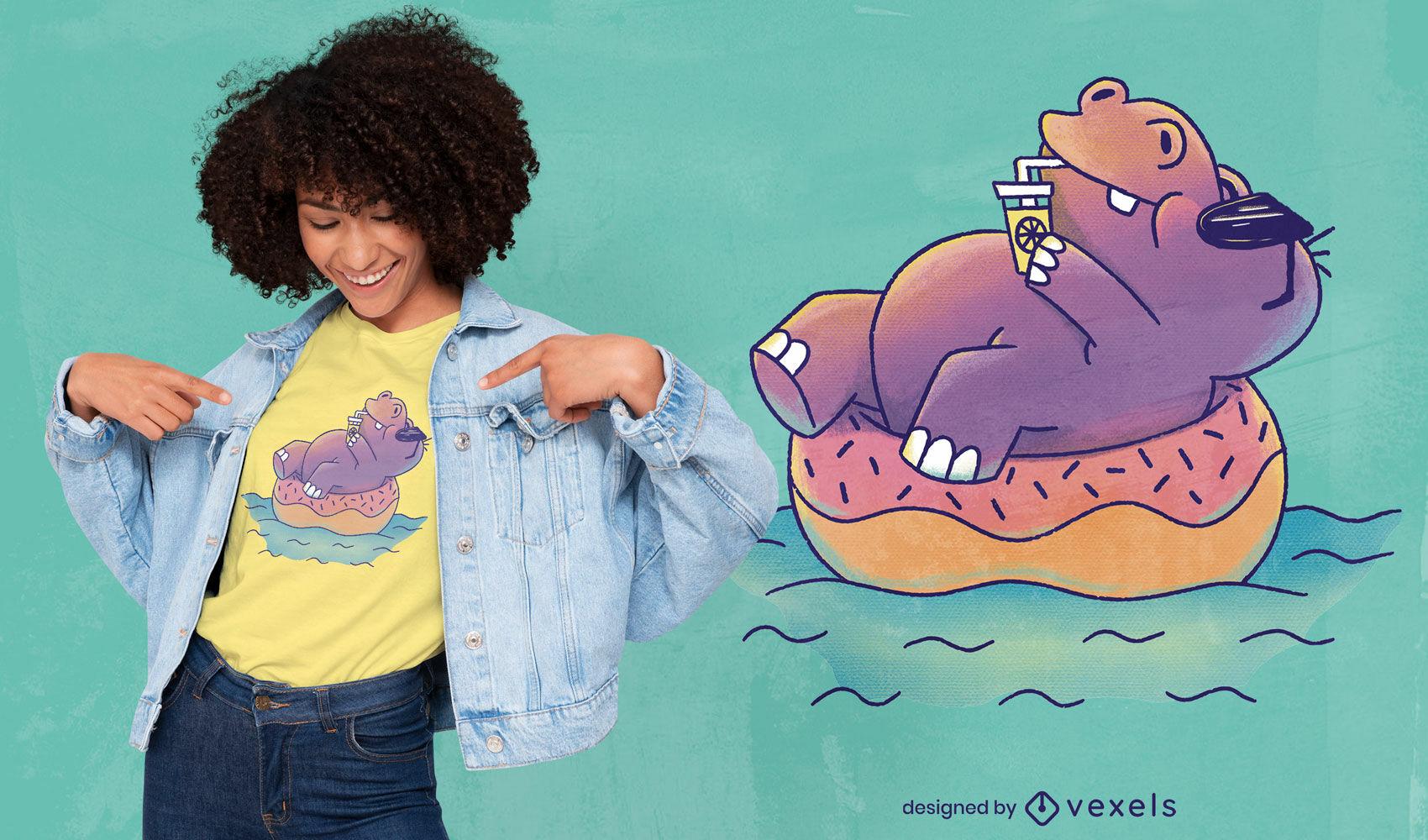 Design de camiseta psd hipopótamo de verão