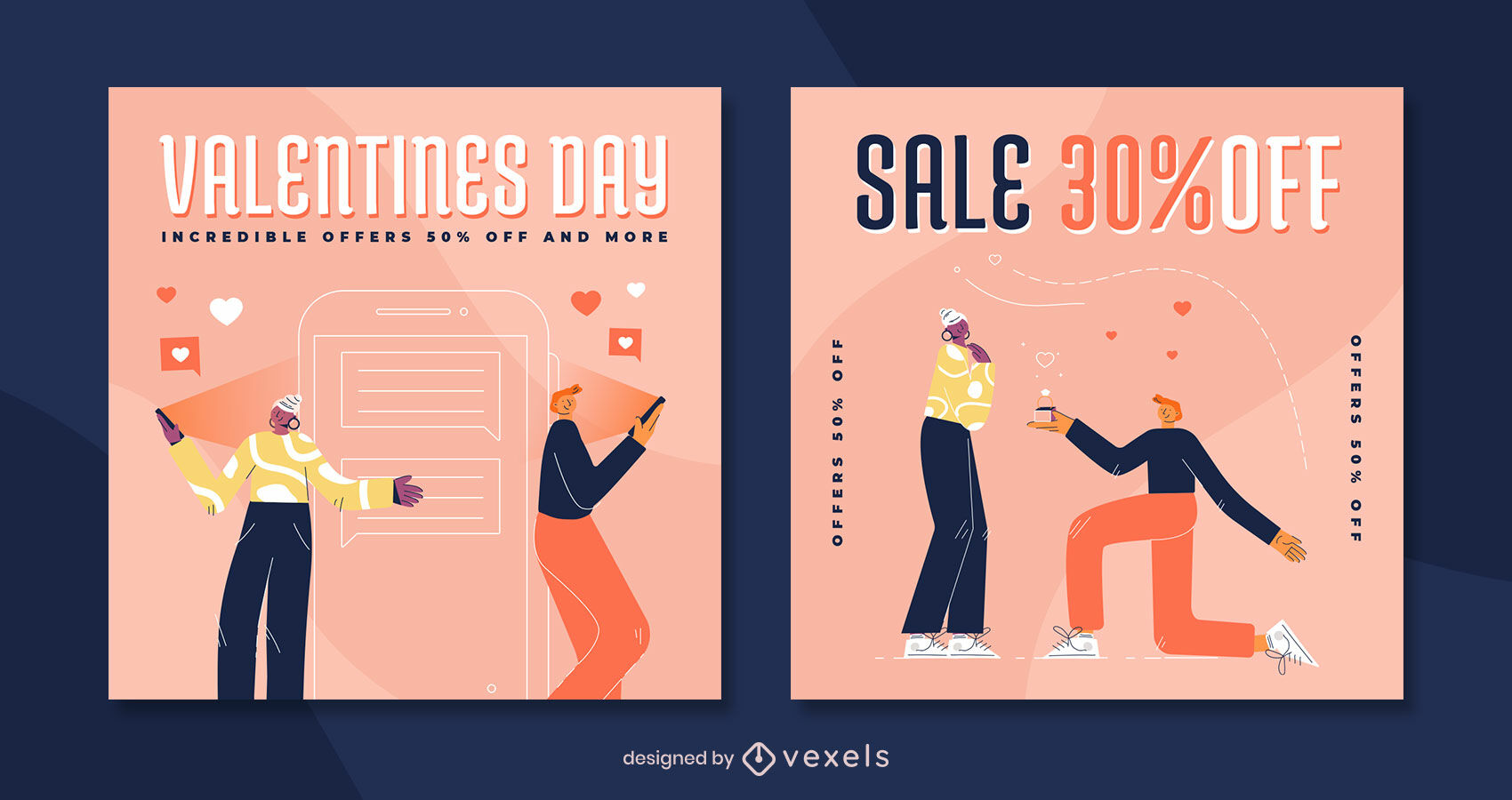Valentines day semi flat instagram post template