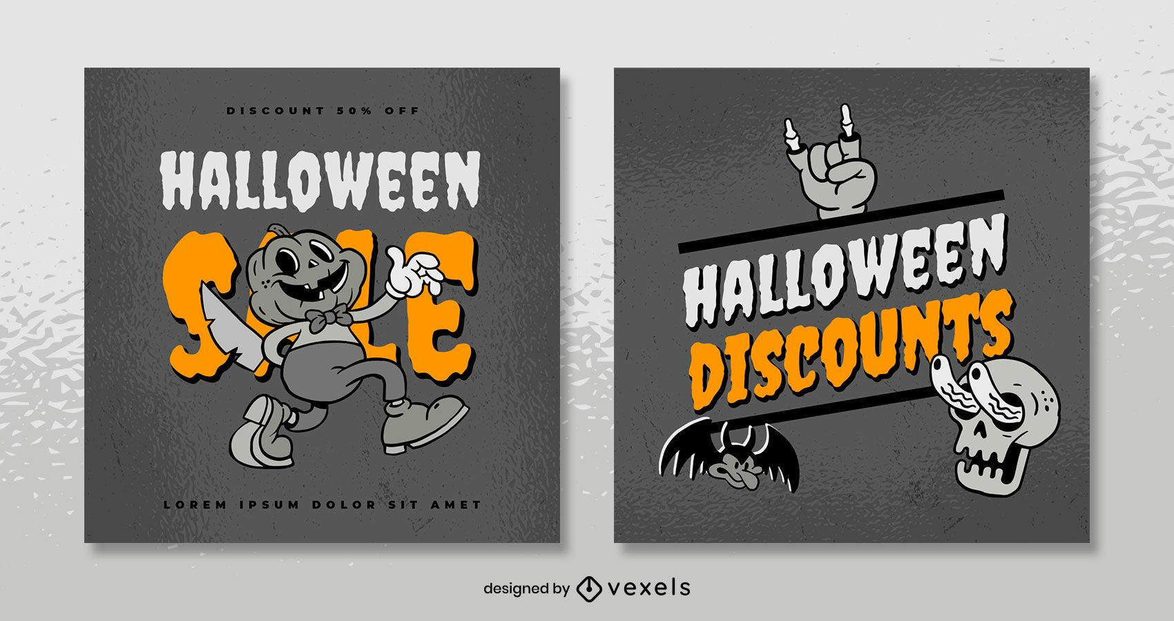 Halloween retro cartoon instagram post template