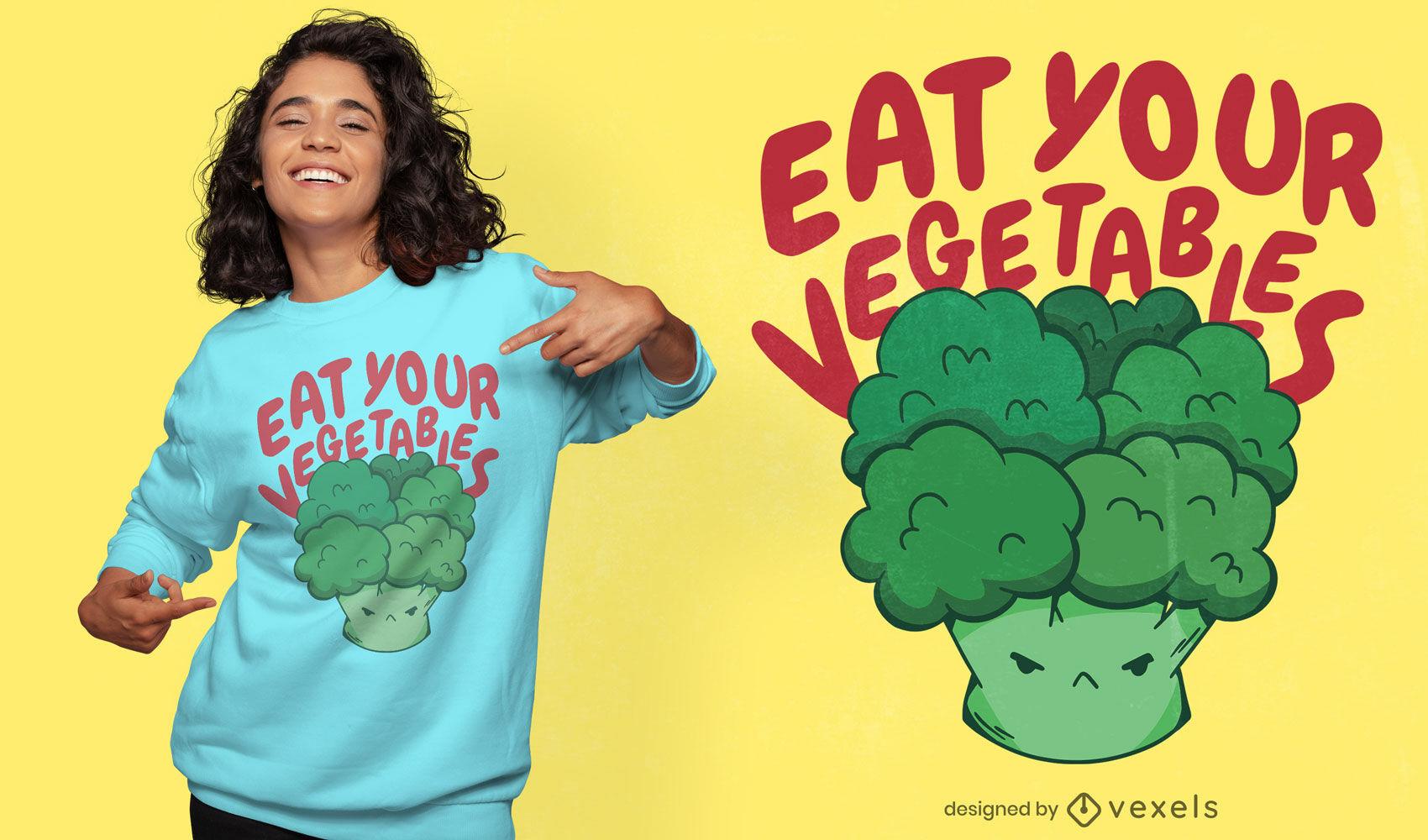 Coma su diseño de camiseta de verduras.