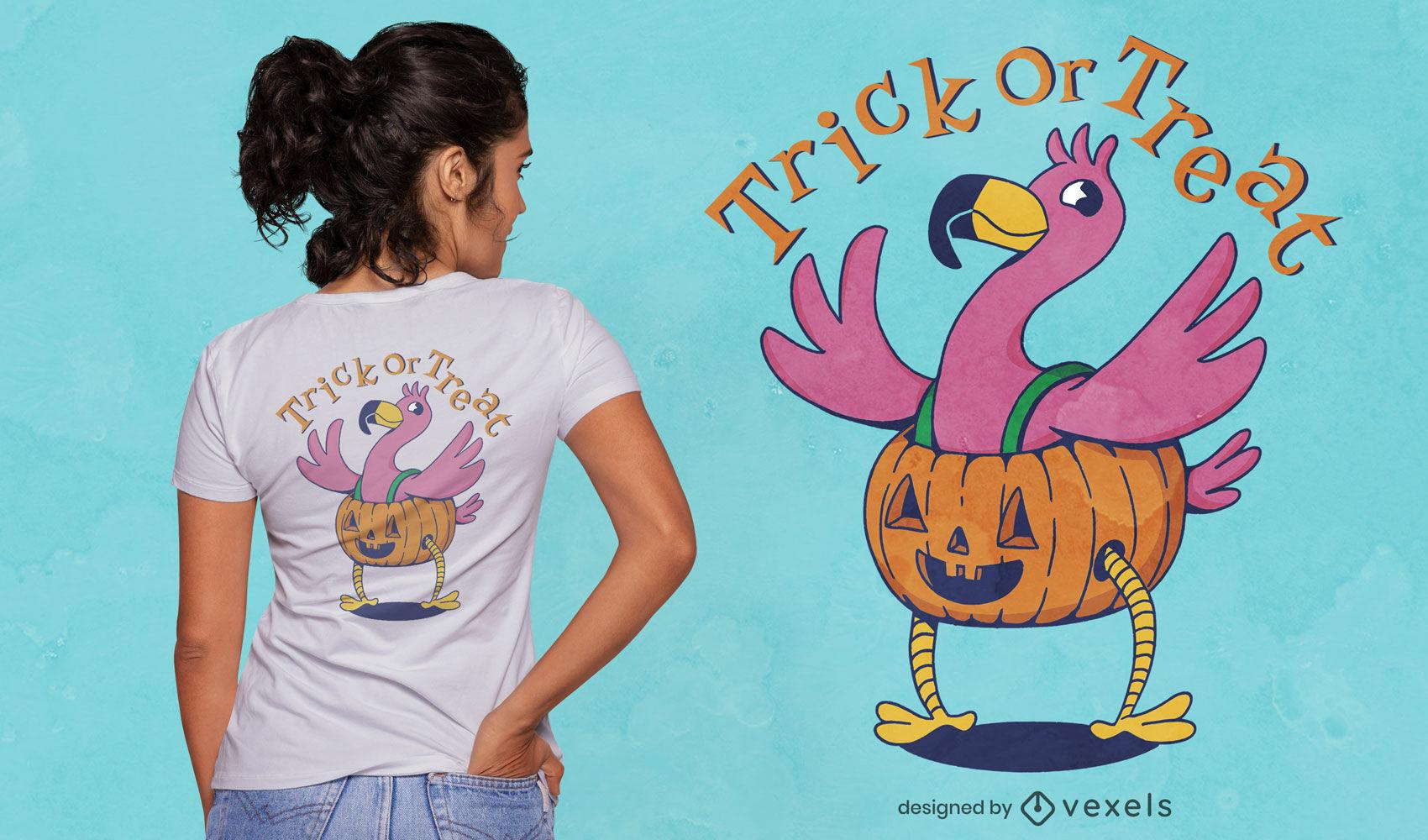 Diseño de camiseta de disfraz de calabaza de flamenco de Halloween.