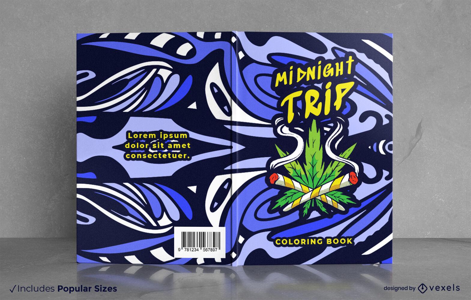 Diseño de portada de libro trippy de hoja de marihuana