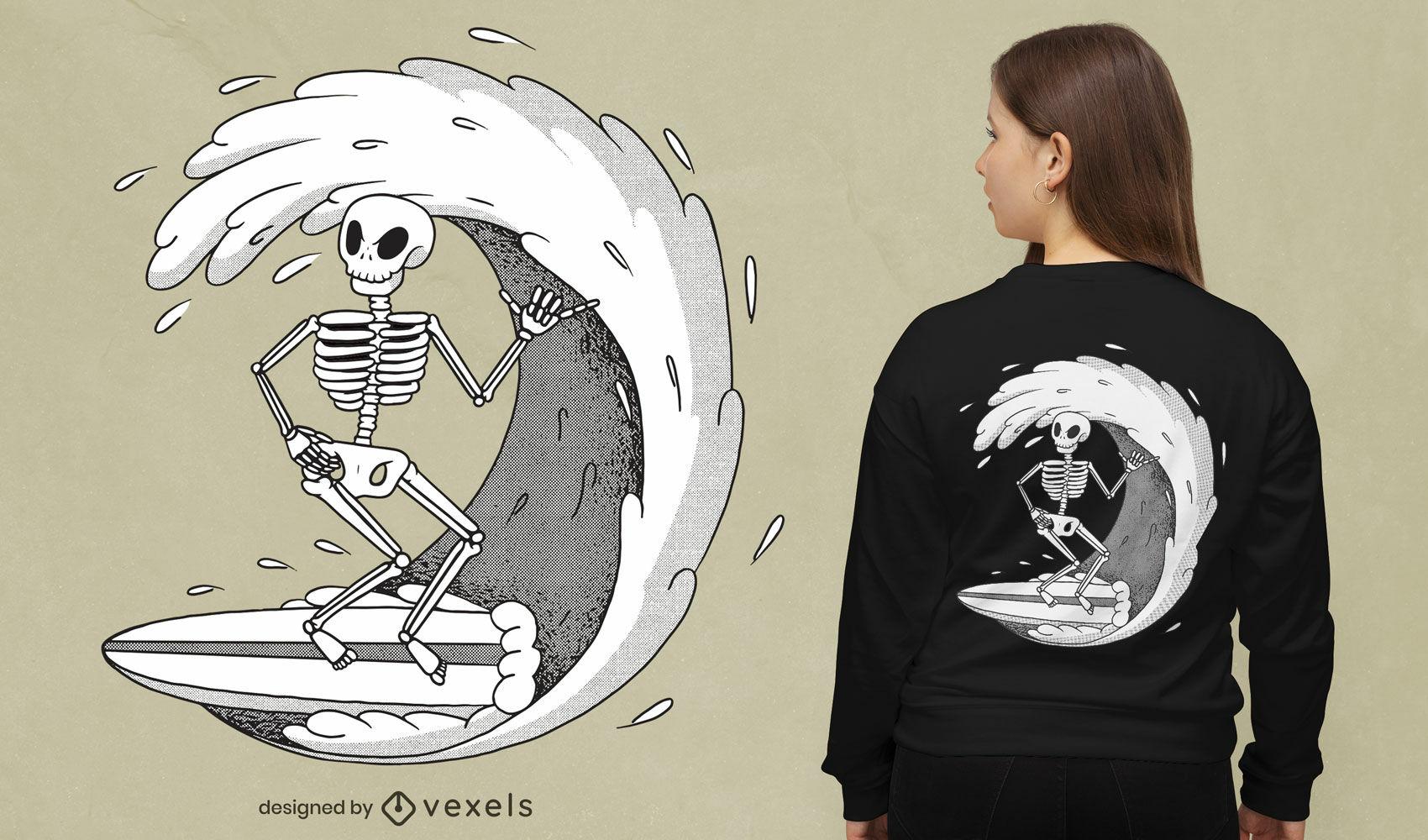 Diseño de camiseta de ola de surf esqueleto.