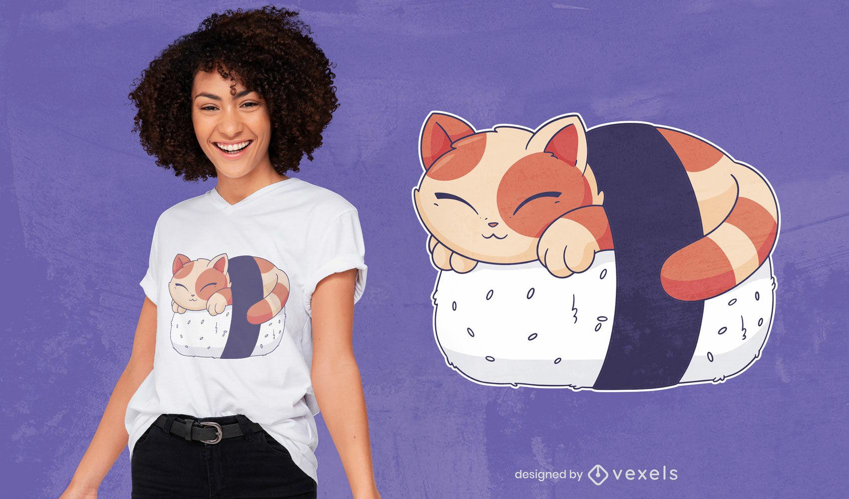 Sushi cat animal sleeping t-shirt design