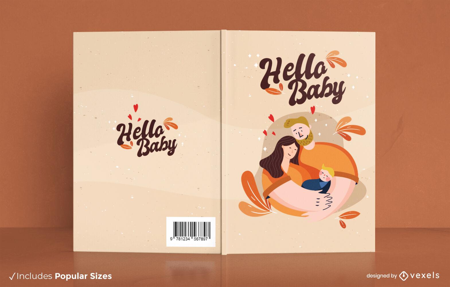 Família feliz com design de capa de livro para bebês