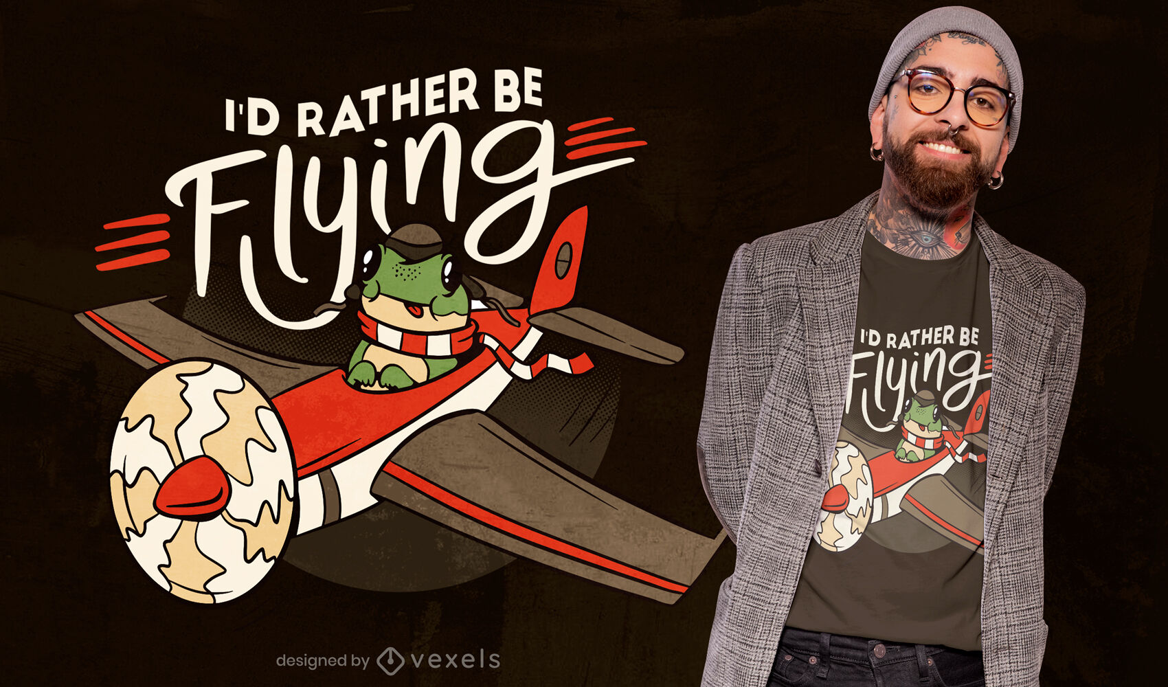 Frog pilot animal on airplane t-shirt design
