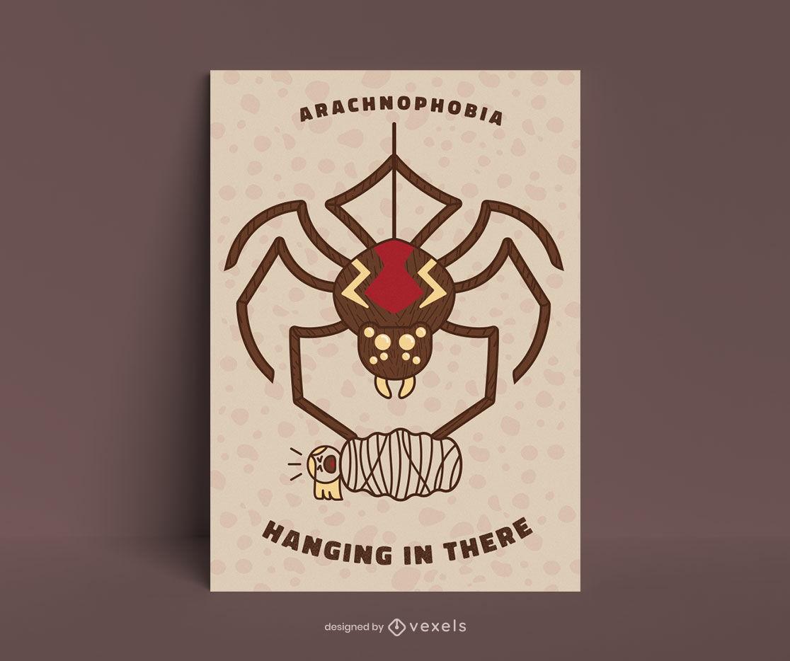 Plantilla de póster de araña aracnofobia