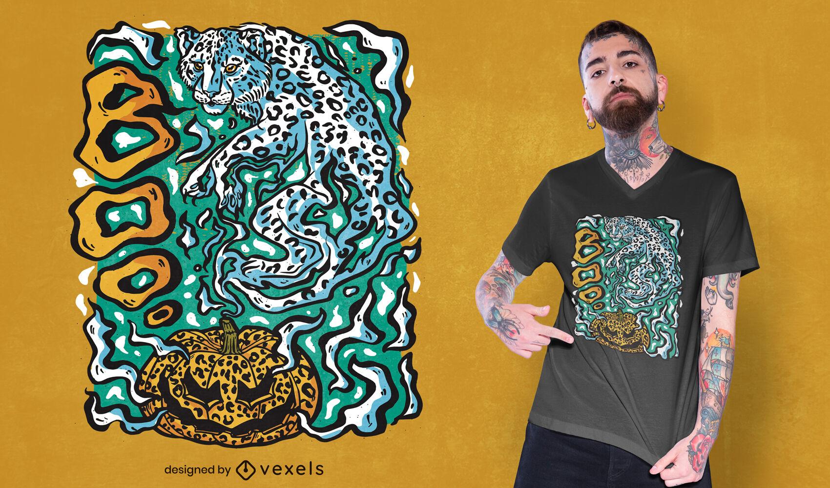 Design de t-shirt do fantasma do leopardo do Dia das Bruxas