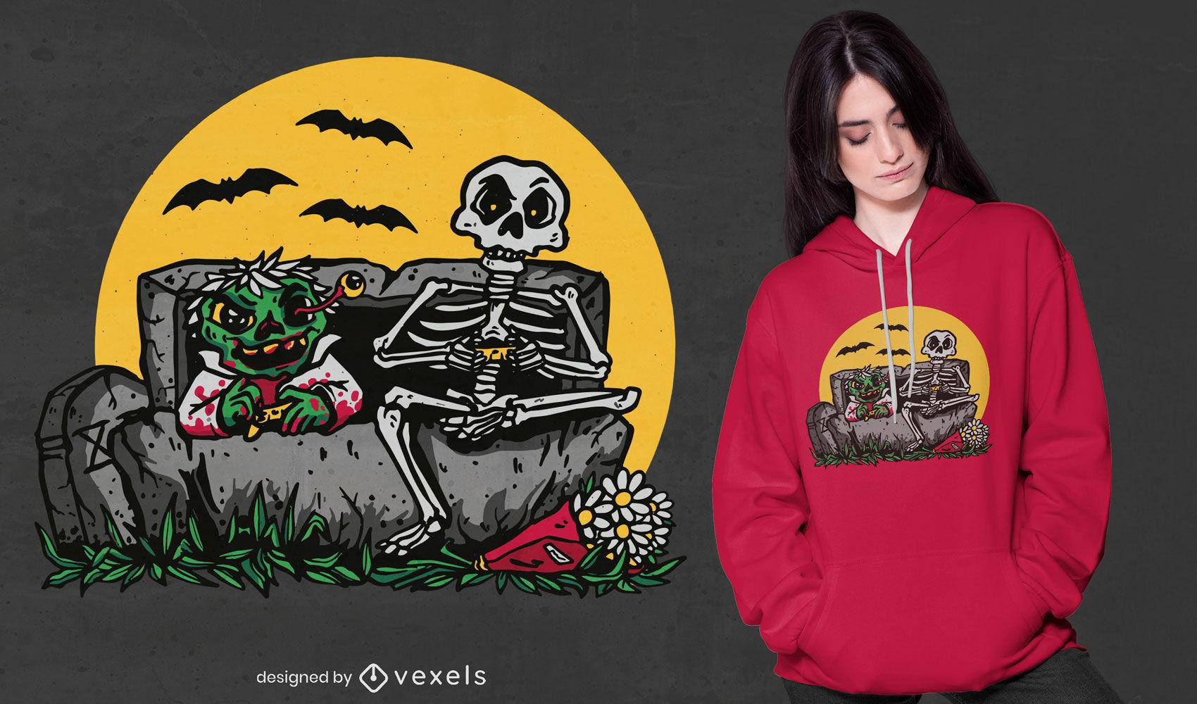 Diseño de camiseta de esqueletos y jugadores de zombies.