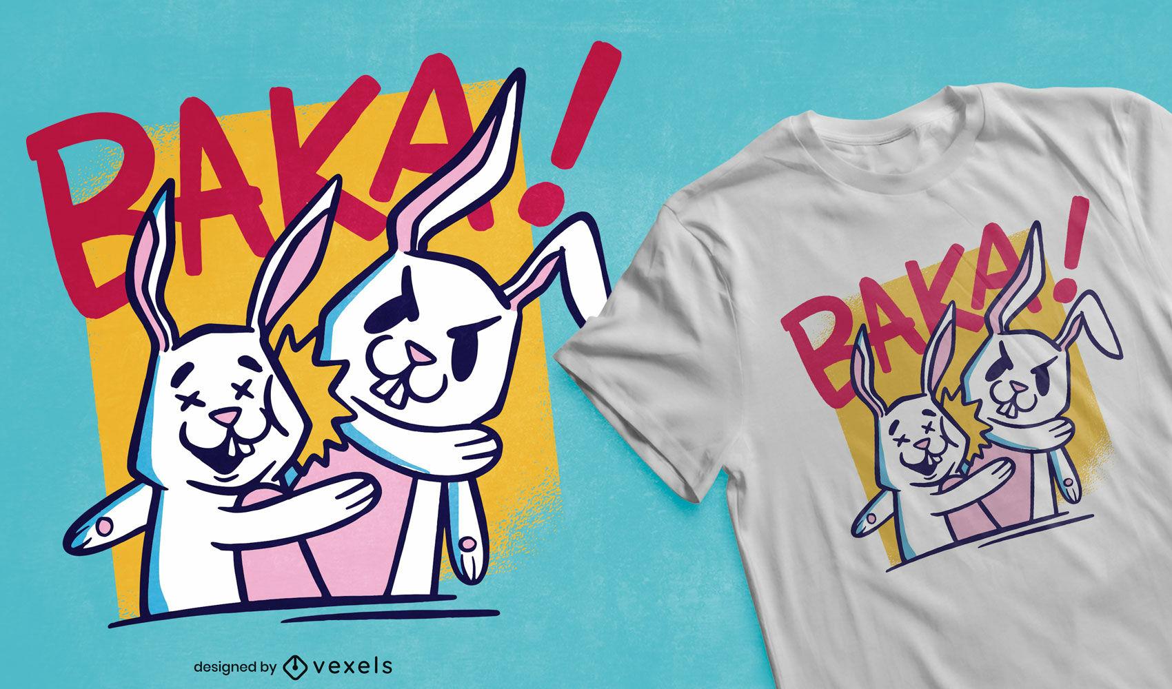 Diseño de camiseta de conejito conejo bofetada animal