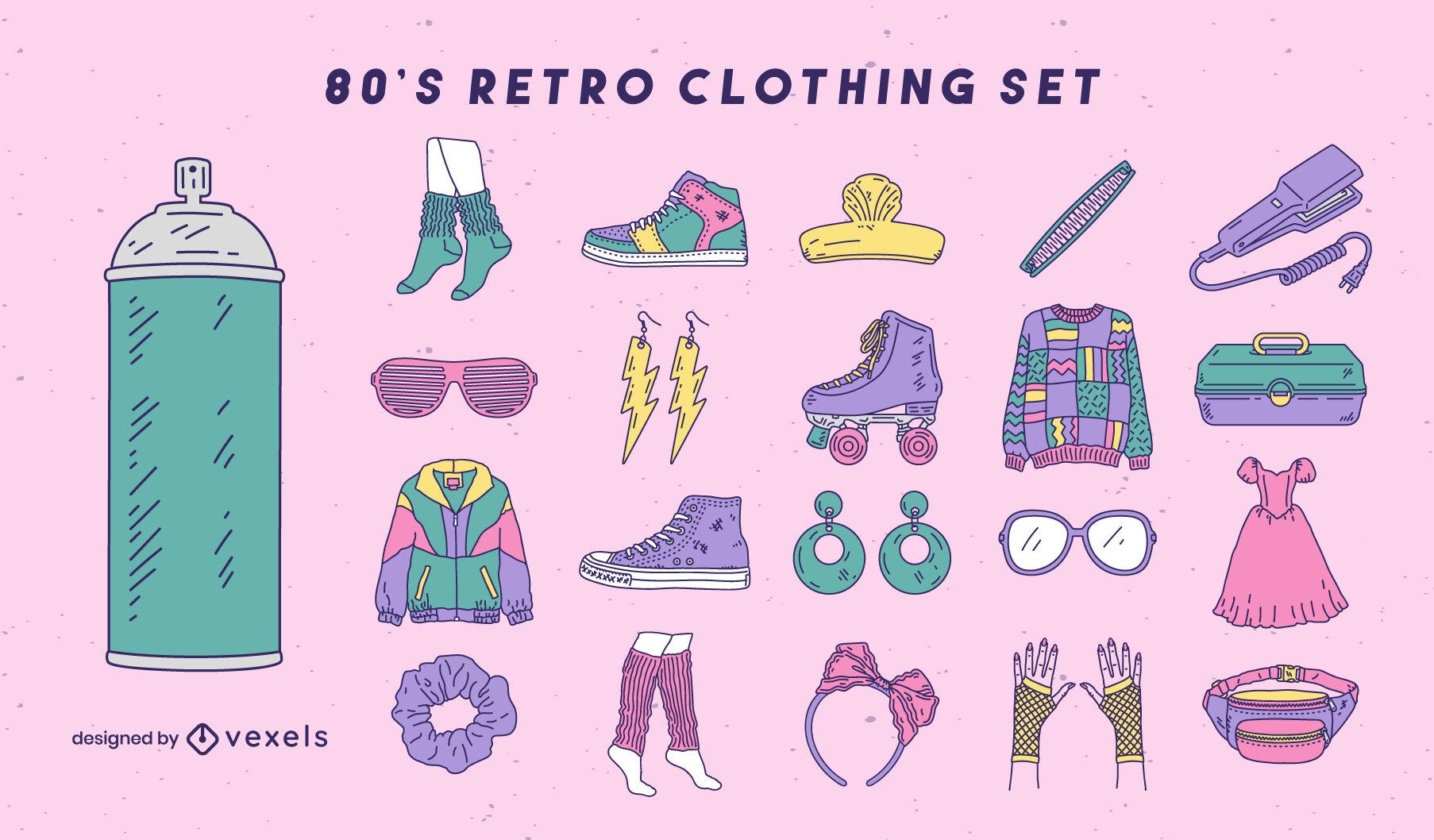 Conjunto de trazos de color de elementos de moda y ropa retro