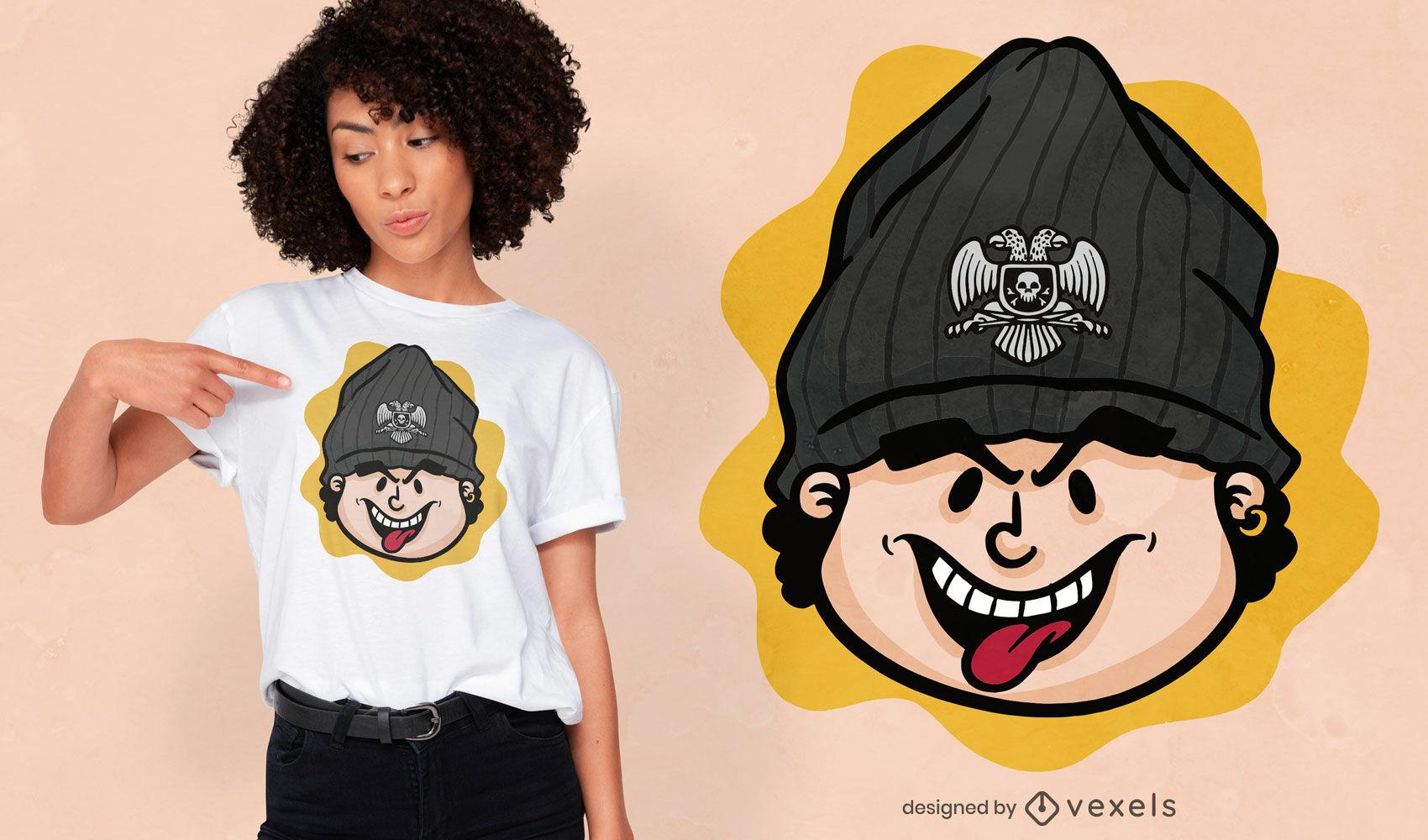 Camiseta de sombrero de bandera serbia de niño de dibujos animados dsign