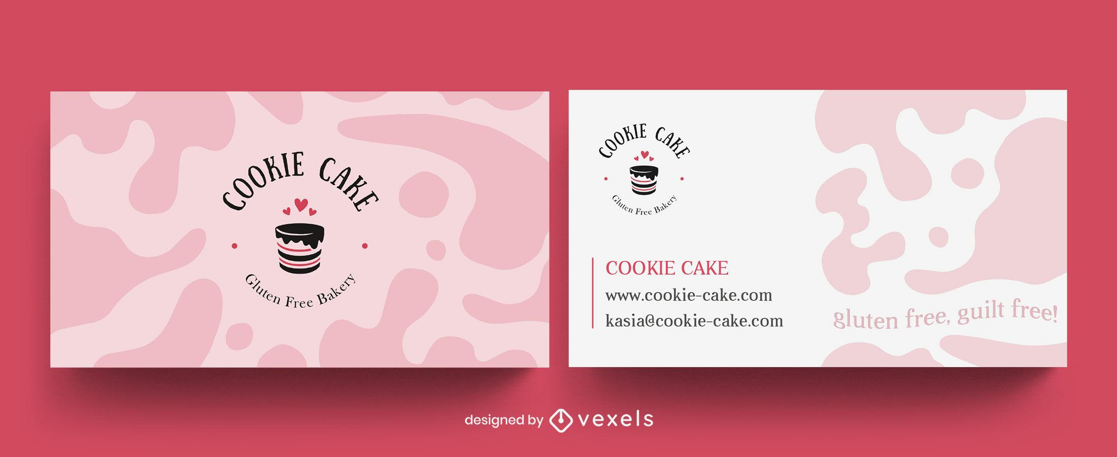 Diseño de tarjeta de visita de pastel de comida dulce