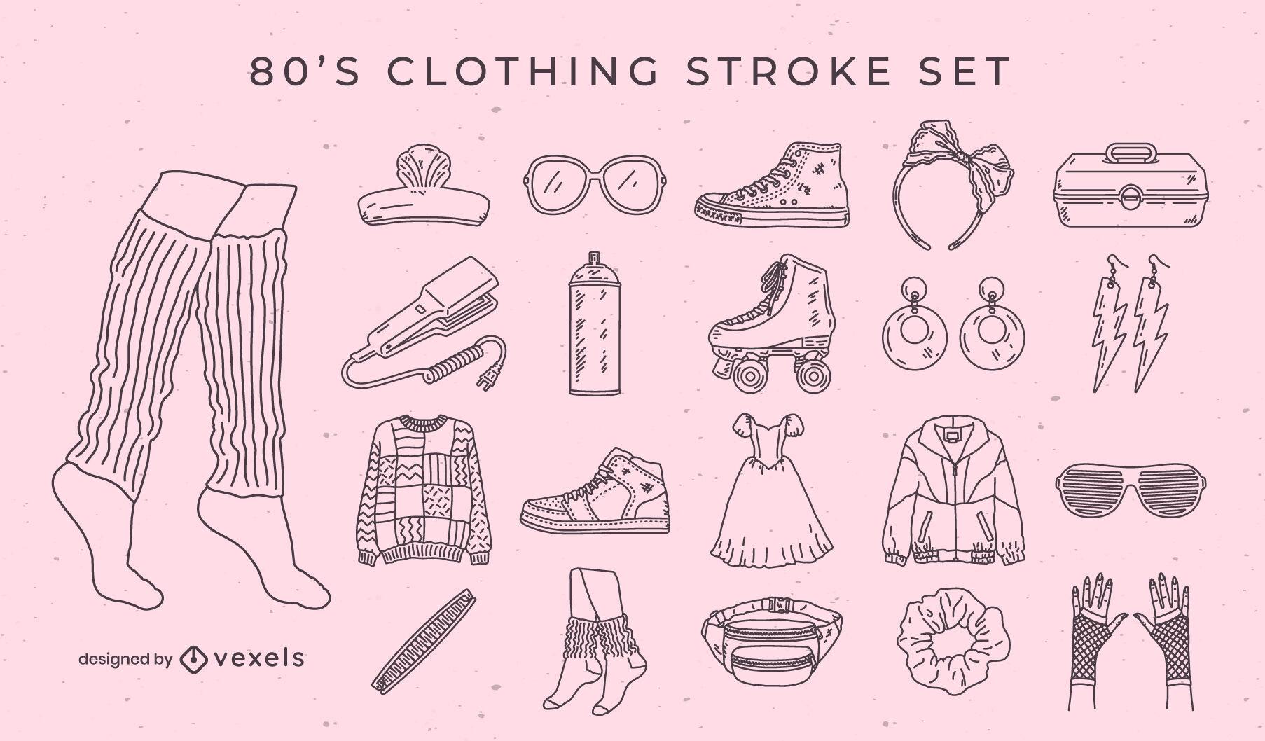 Retro fashion and clothing elements stroke set