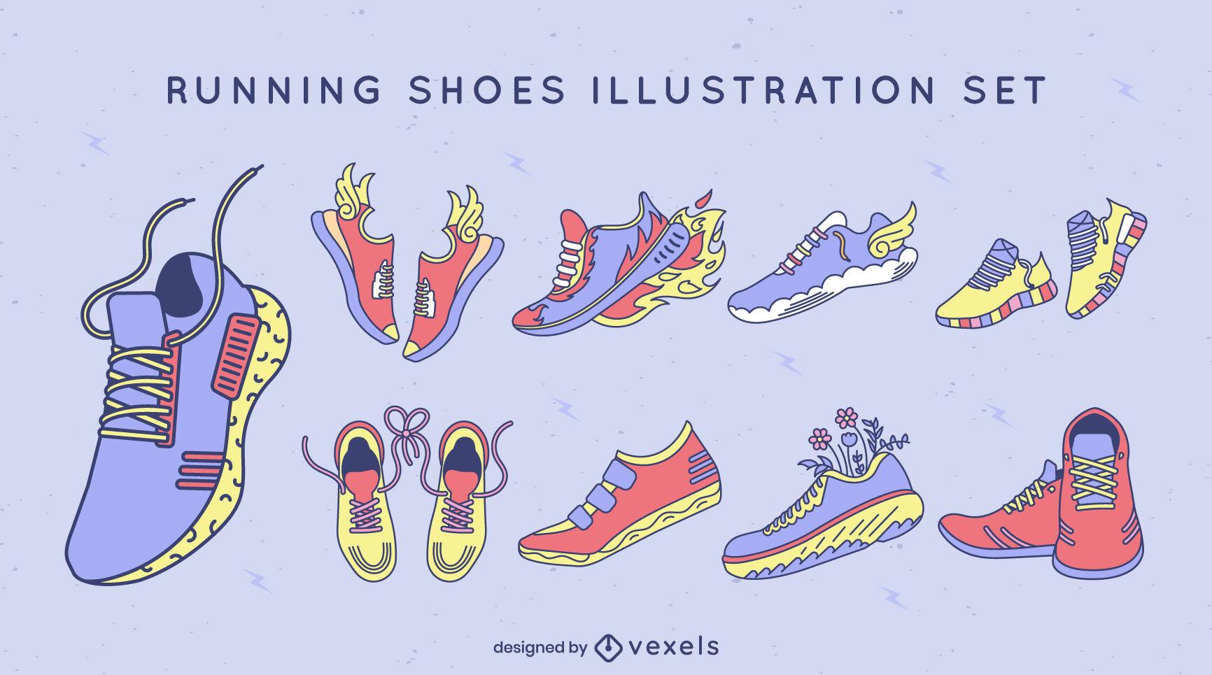 Los zapatos para correr establecen trazo de color