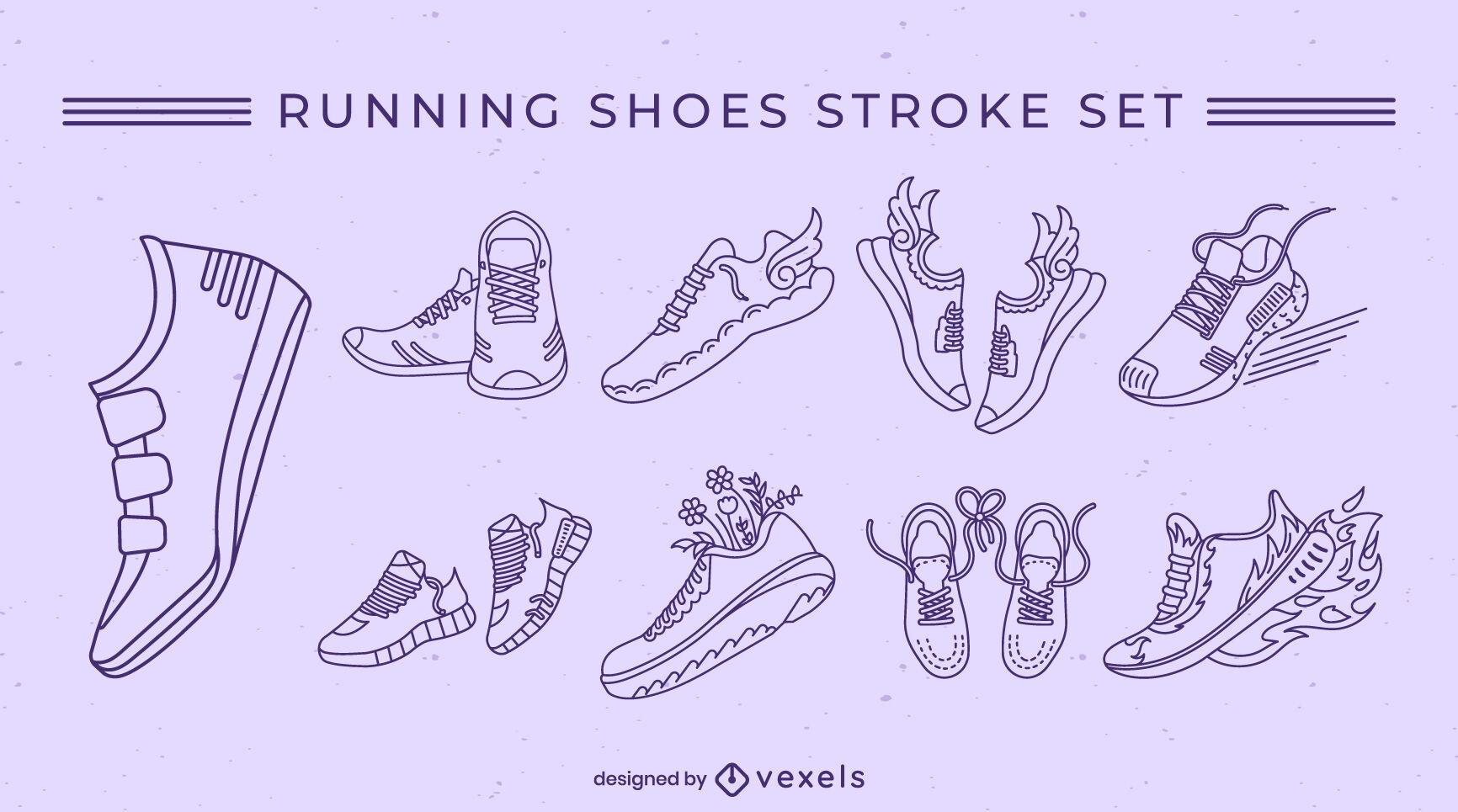 Running shoes set stroke