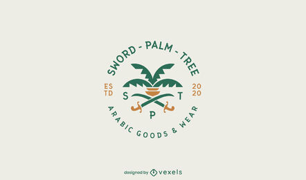 Palm and swords flat logo template