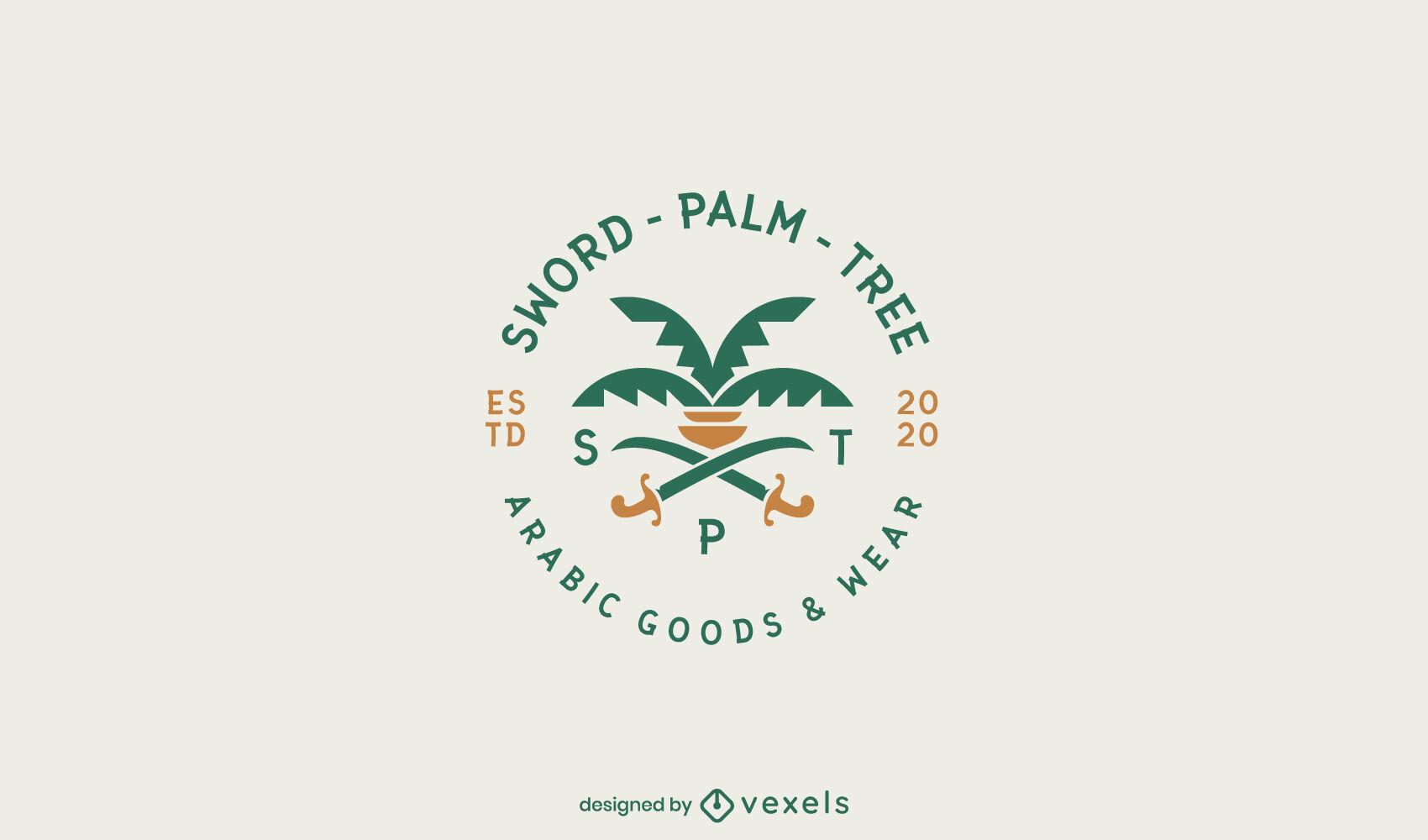 Plantilla de logotipo plano de palma y espadas