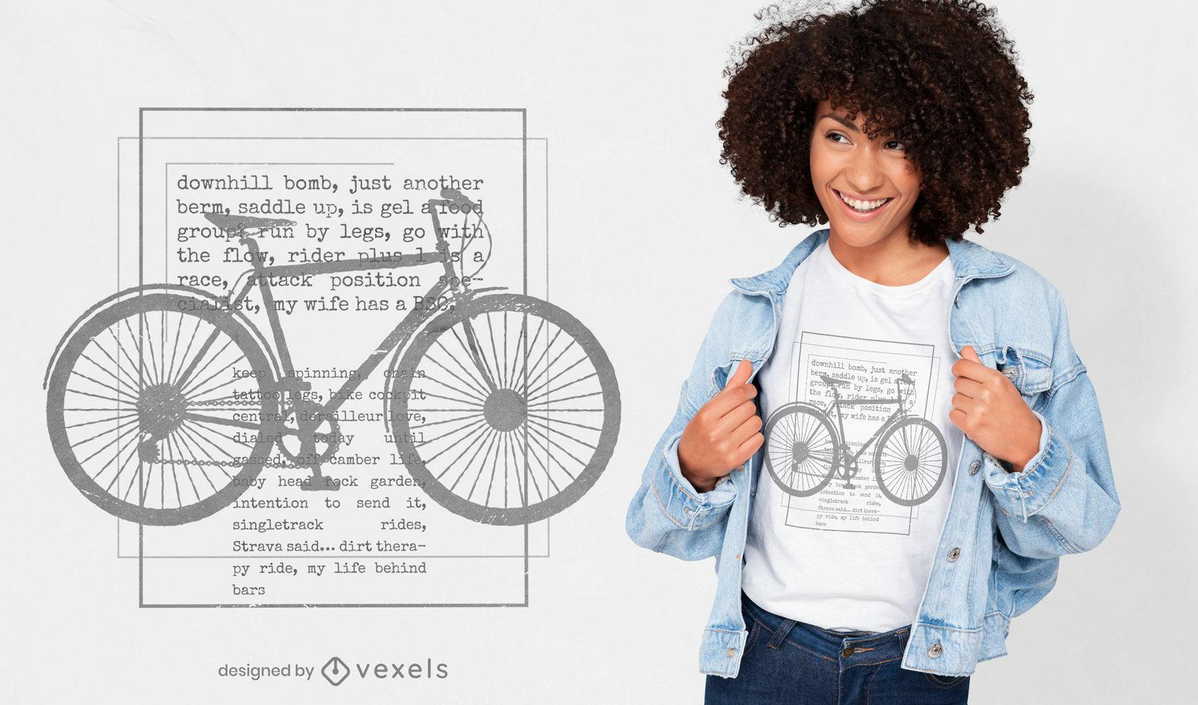Diseño de camiseta de silueta de bicicleta de texto de motociclista