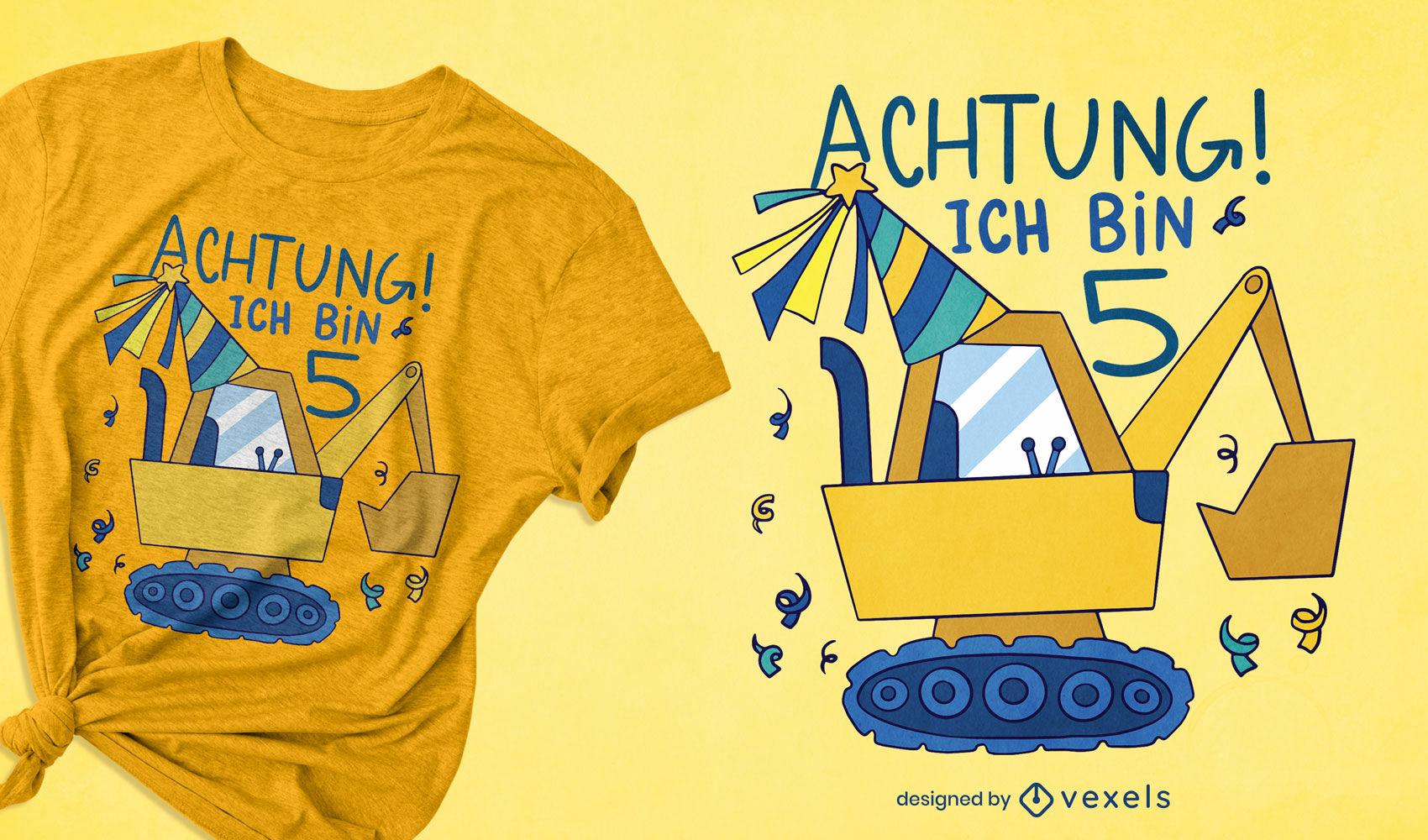 German 5th birthday excavator t-shirt design